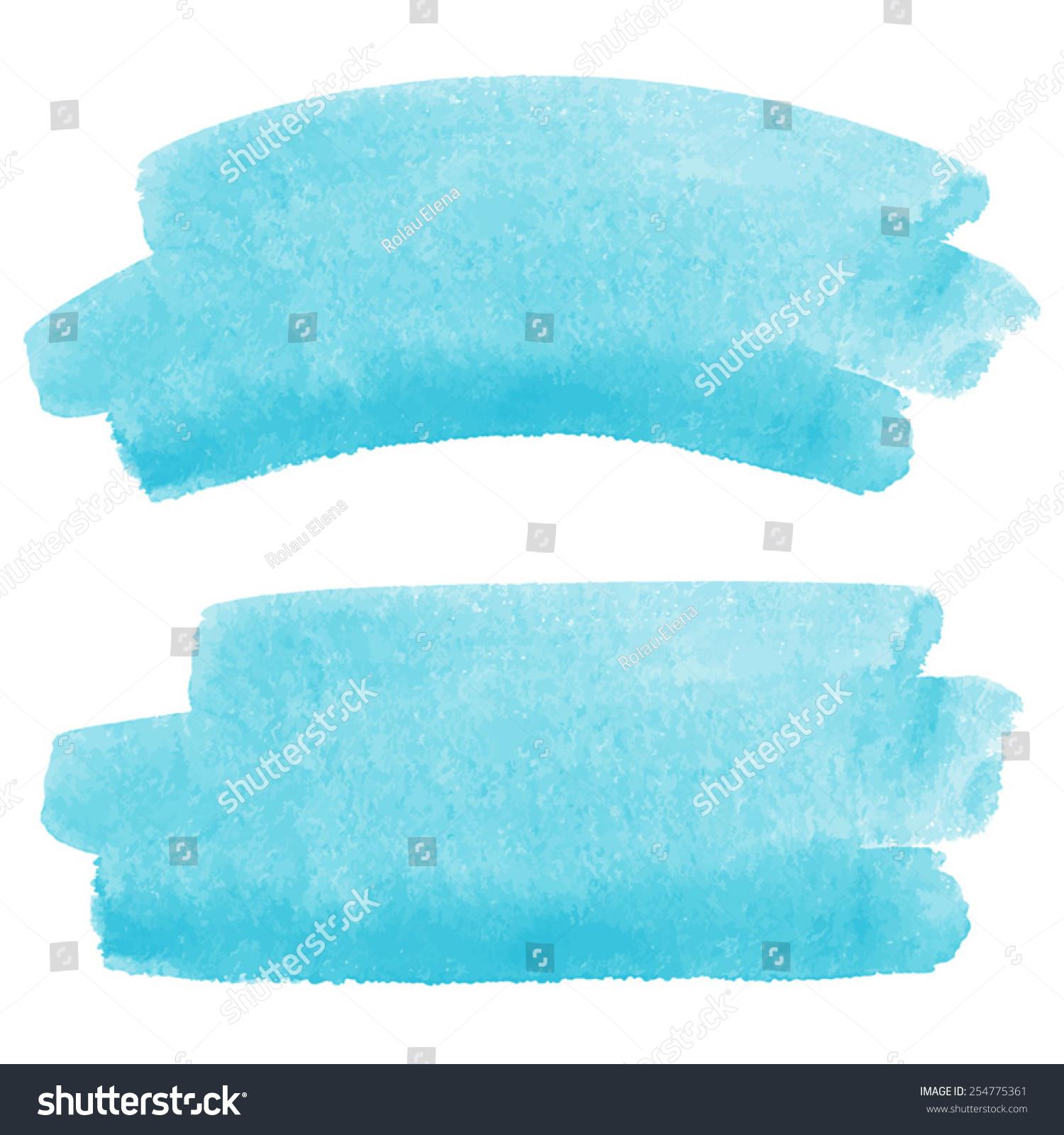 watercolor vector brush strokes skyblue piece stock vector