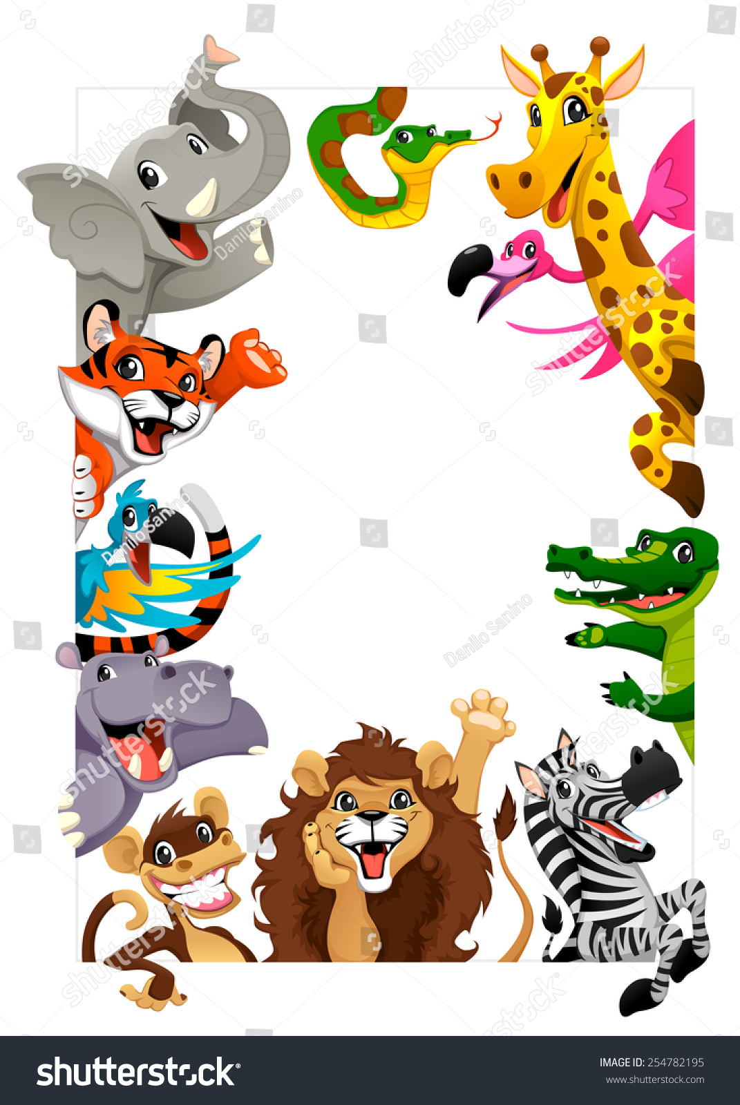 Funny Group Jungle Animals Cartoon Vector Stock Vector ...
