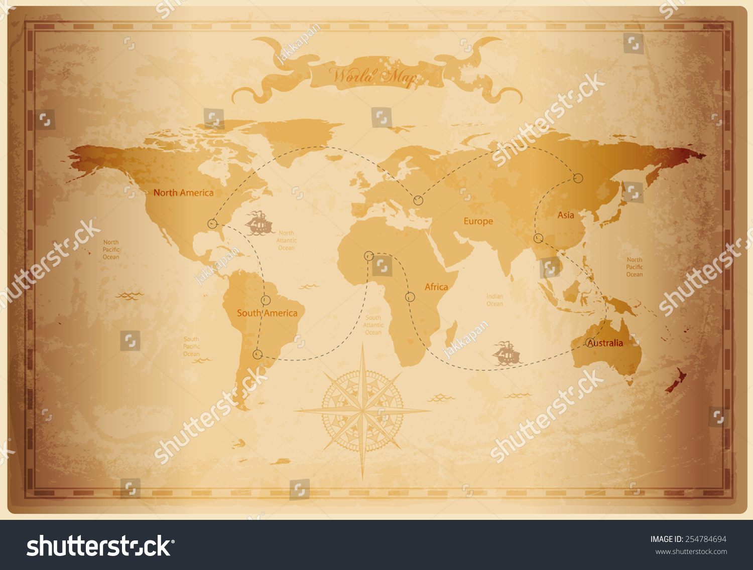 Old world map vintage paper texture stock vector royalty free old world map with vintage paper texture vector format gumiabroncs Choice Image