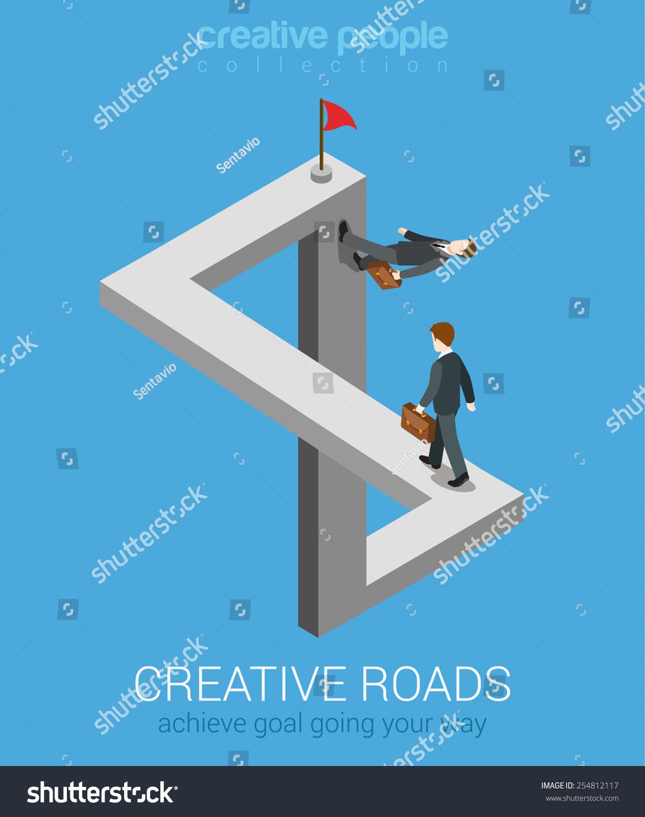 Creative Ways Achieve Goal Flat 3d Stock Vector 254812117 ...