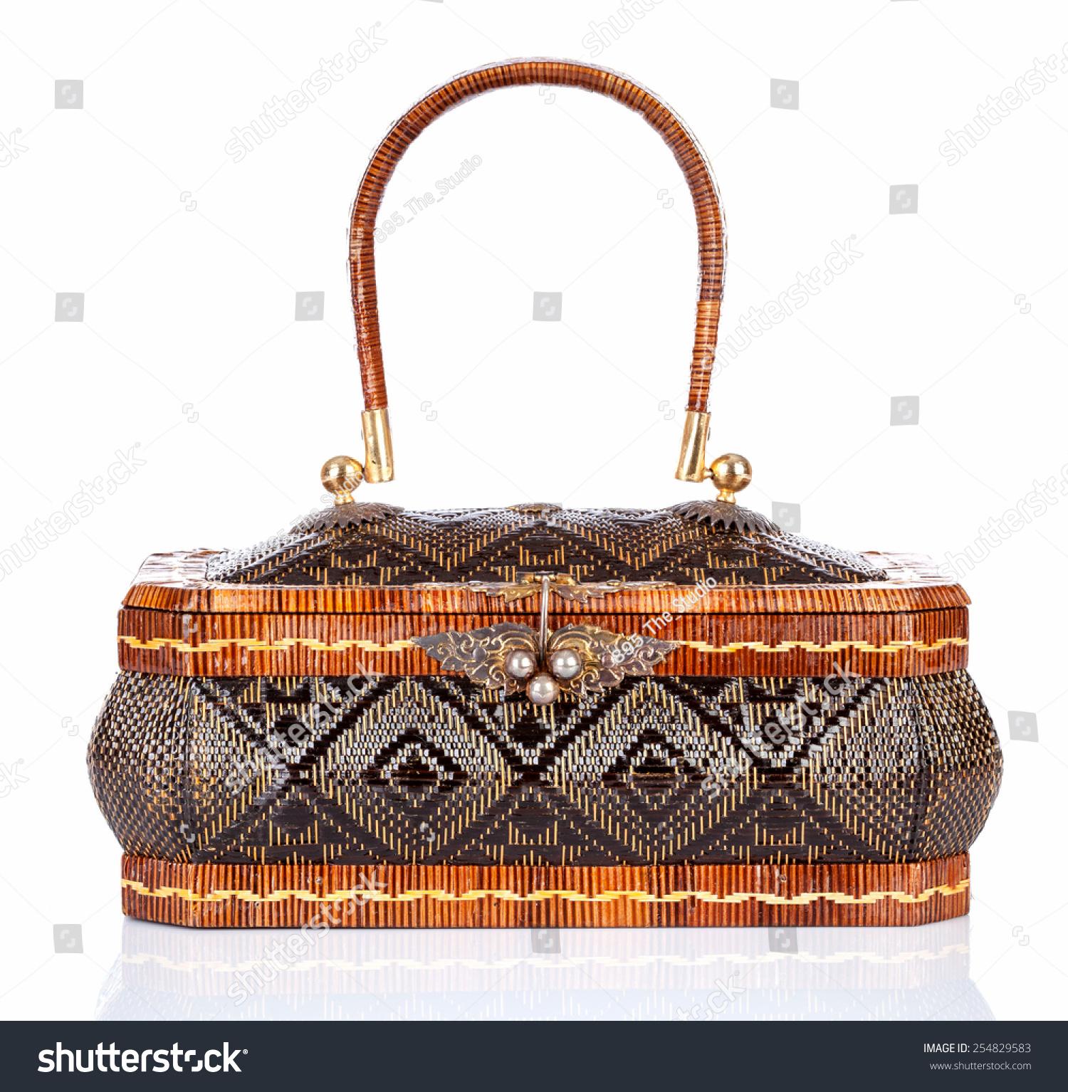 Handicraft Basketry : Thai handicraft elegance woman basketry on white