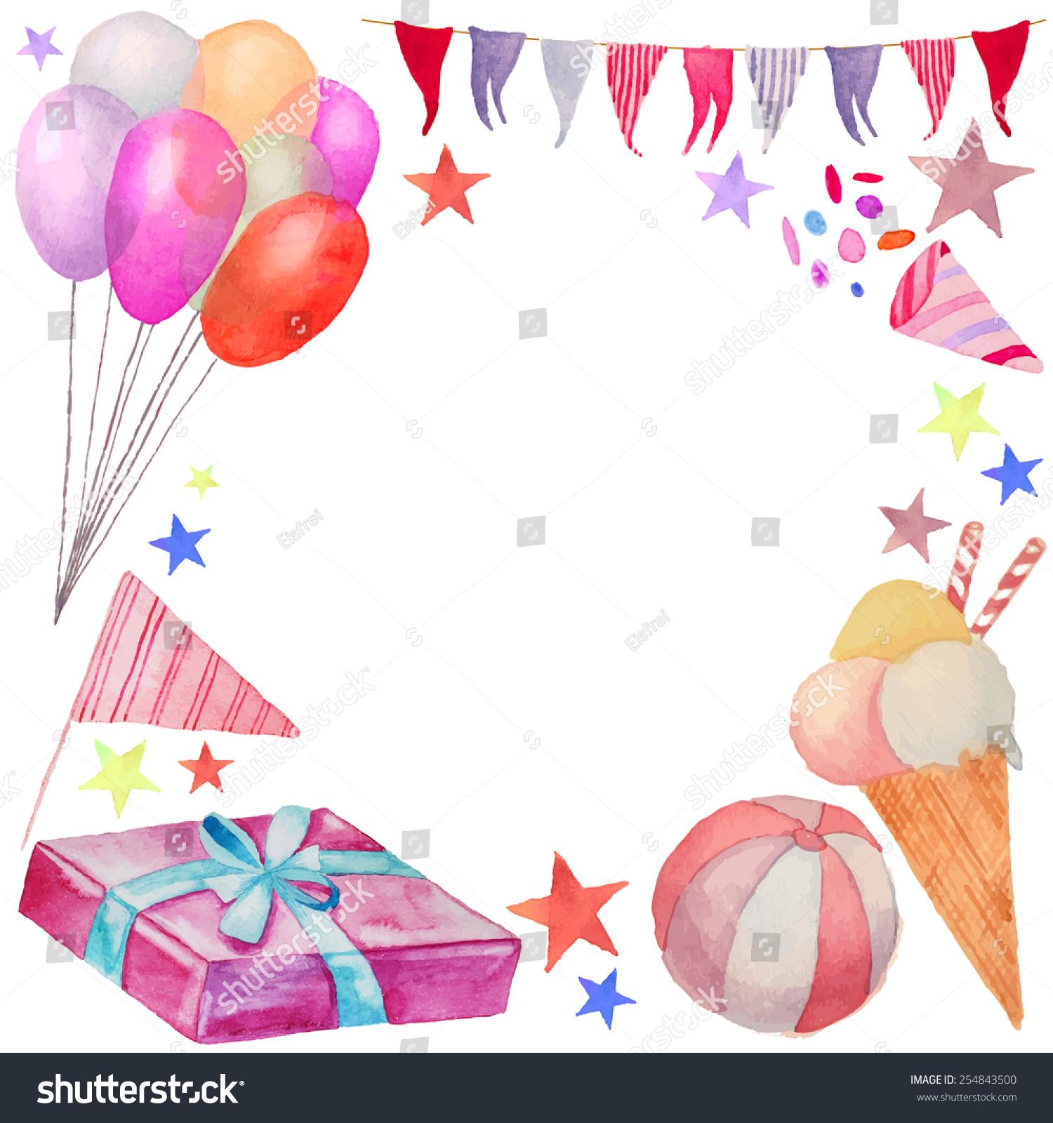 Watercolor Happy Birthday Frame Hand Drawn Stock Vector 254843500 ...