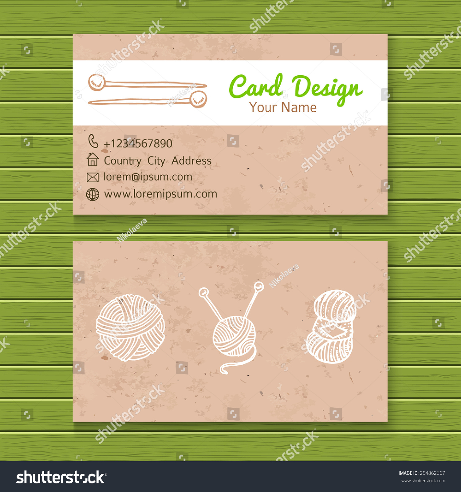 Hand made knitting workshop business card stock vector 254862667 hand made knitting workshop business card template magicingreecefo Image collections