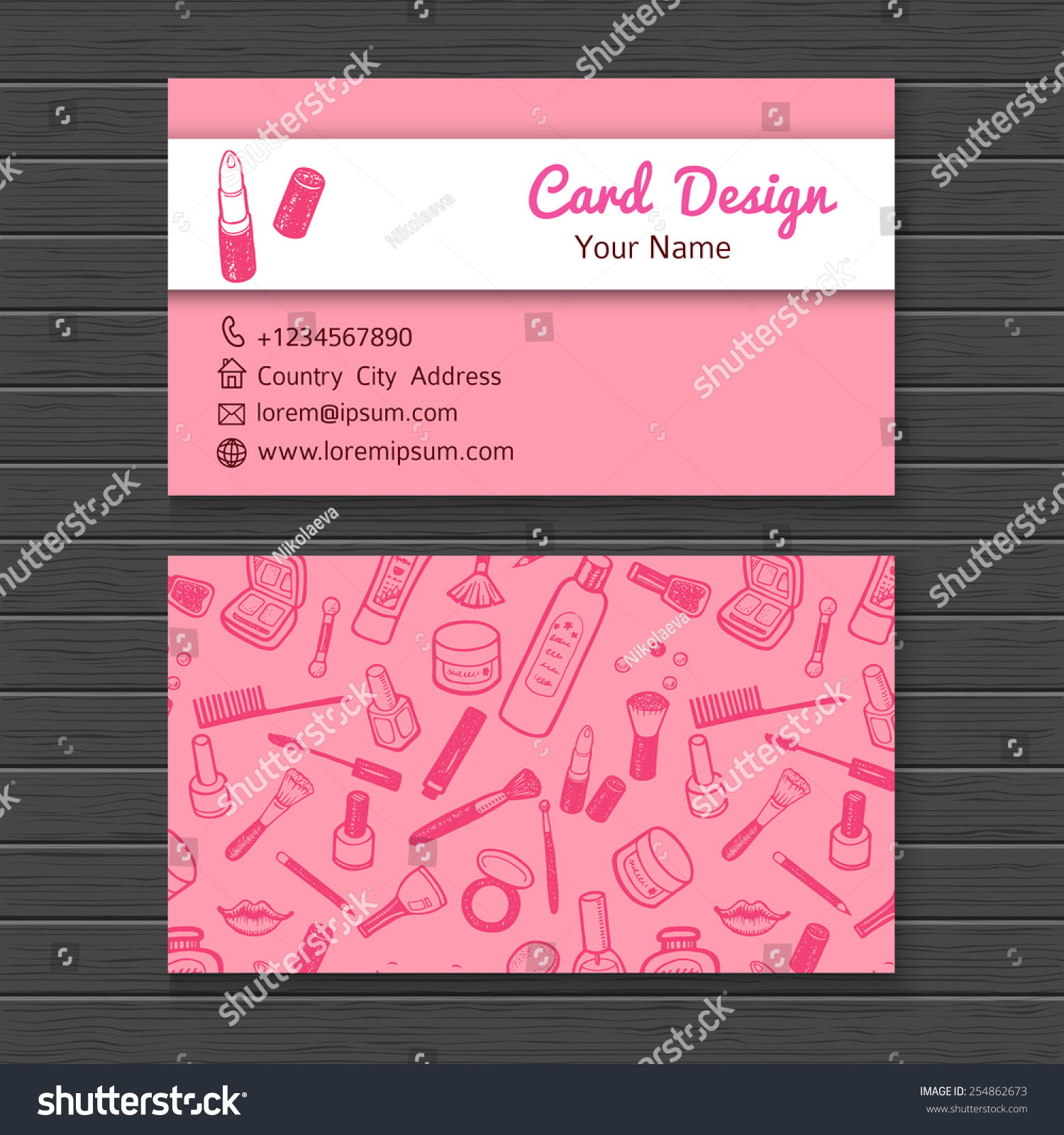 Make artist business card template stock vector 2018 254862673 make up artist business card template accmission Image collections