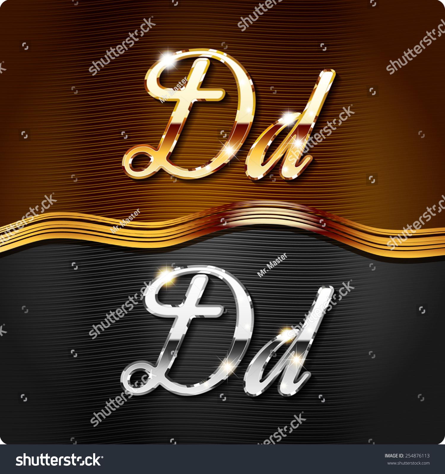 golden stylish italic letters italic metal stock vector 254876113