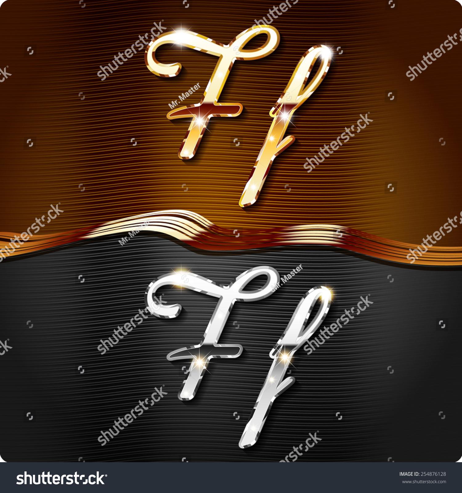 golden stylish italic letters italic metal stock vector 254876128