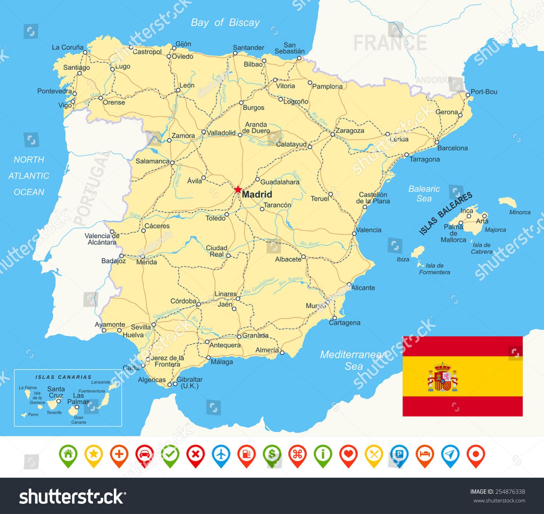 Picture of: Vector De Stock Libre De Regalias Sobre Spain Map Flag Navigation Icons Roads254876338