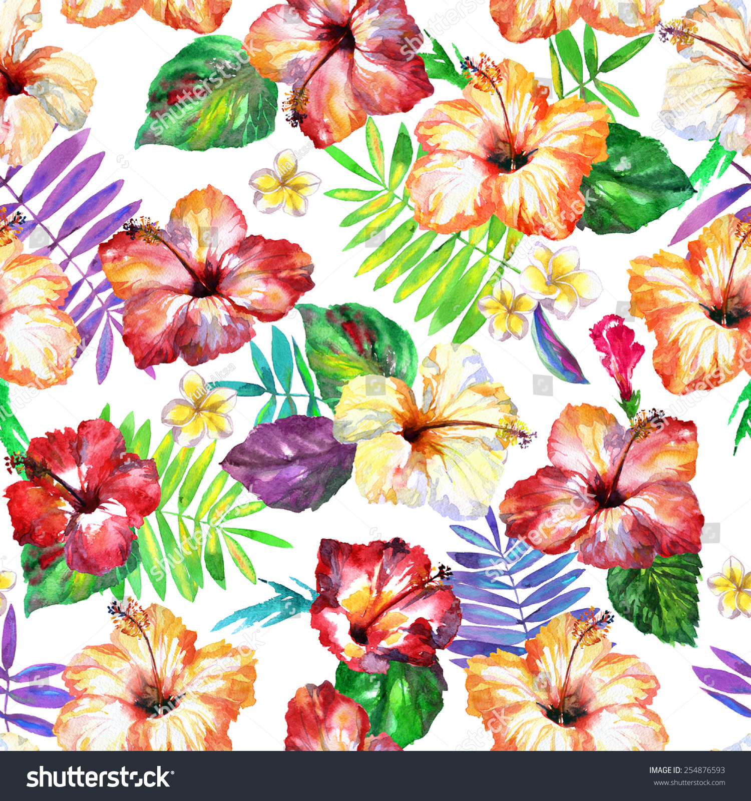 Diverse Exotic Plants Seamless Pattern Watercolor Tropical Flowers