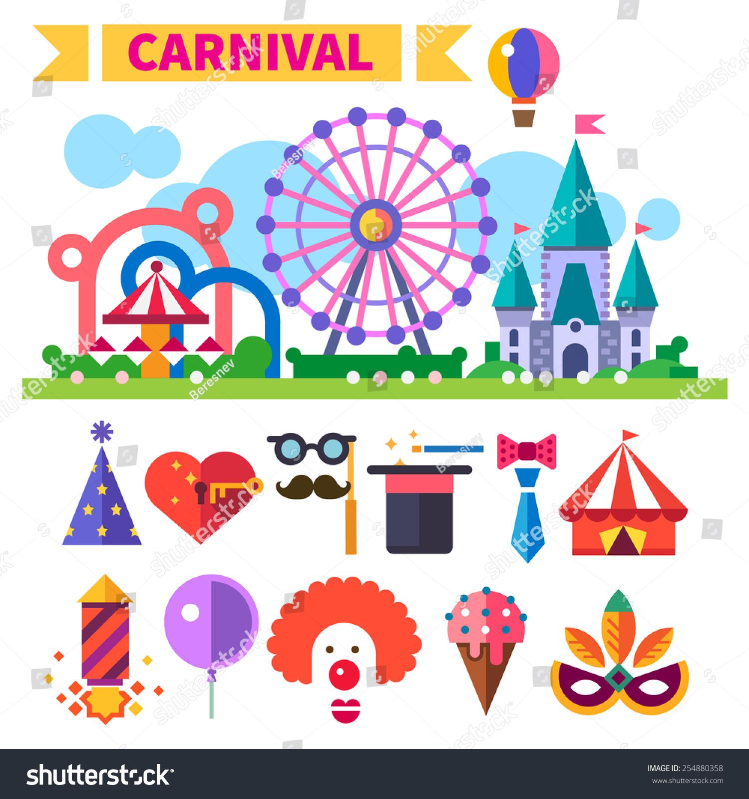 Carnival amusement park laughter smiles children stock for Amusement park decoration games