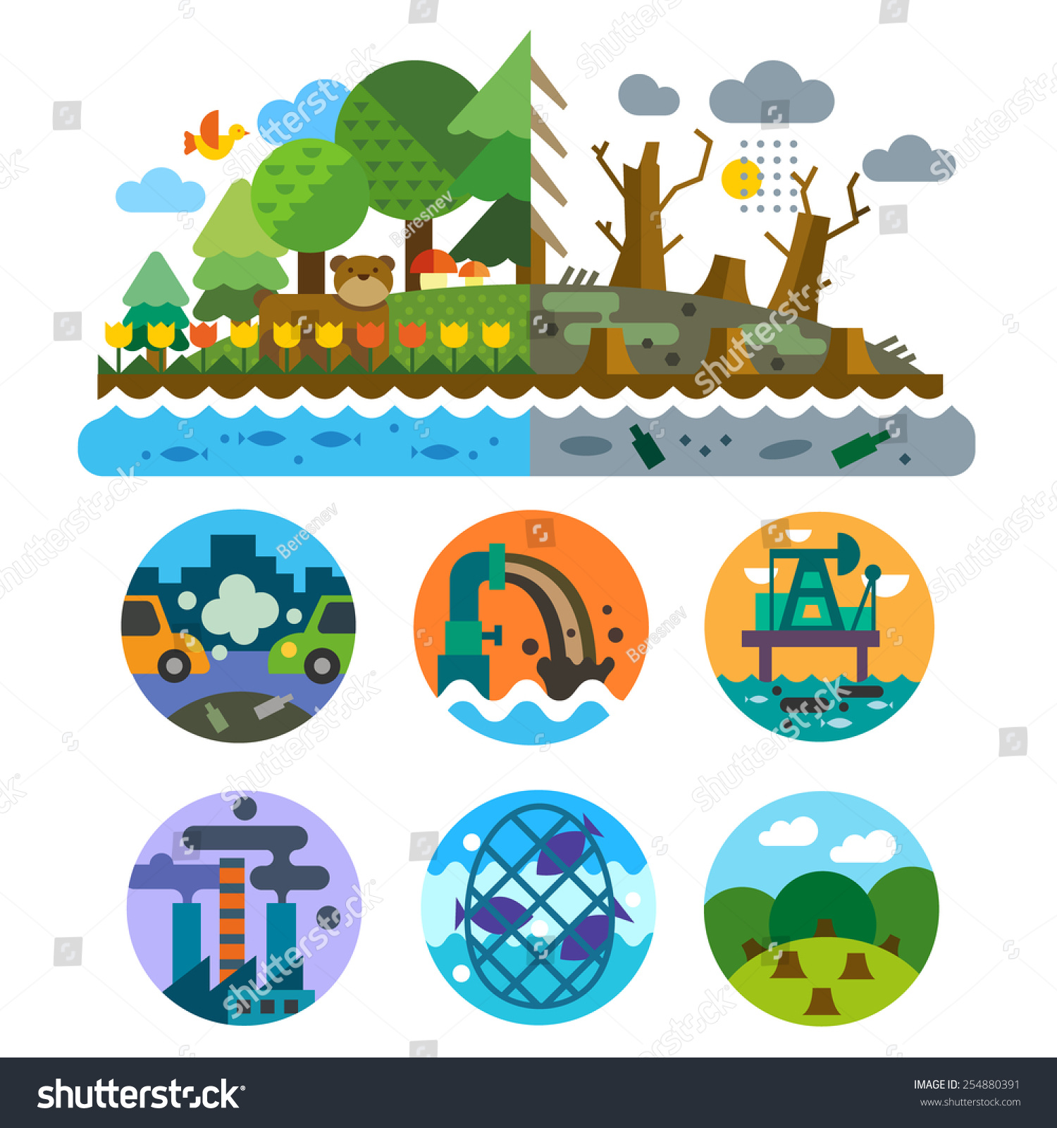 Royalty-free Ecological problems: pollution of water… #254880391 ...