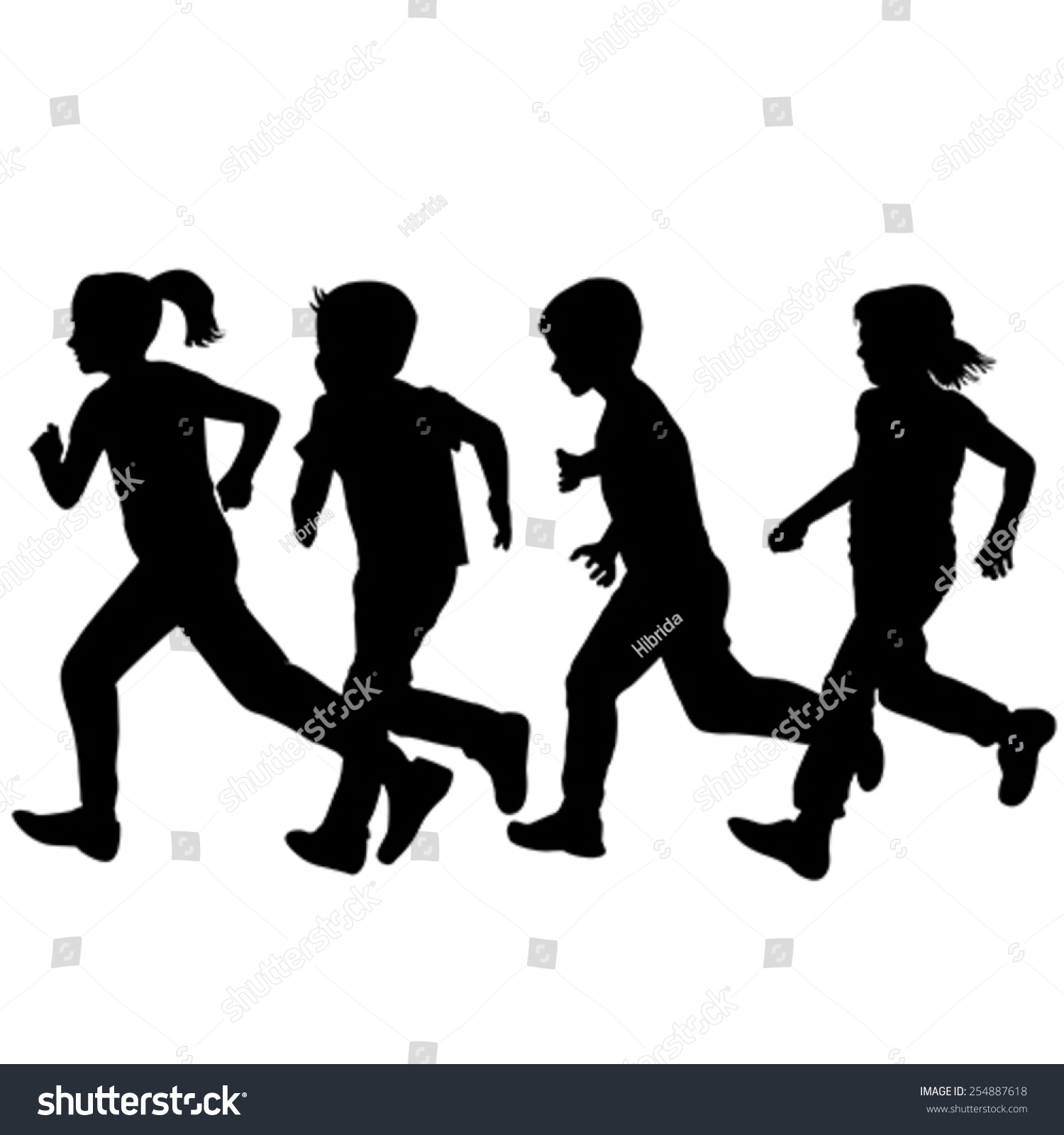 Kids running silhouette vector