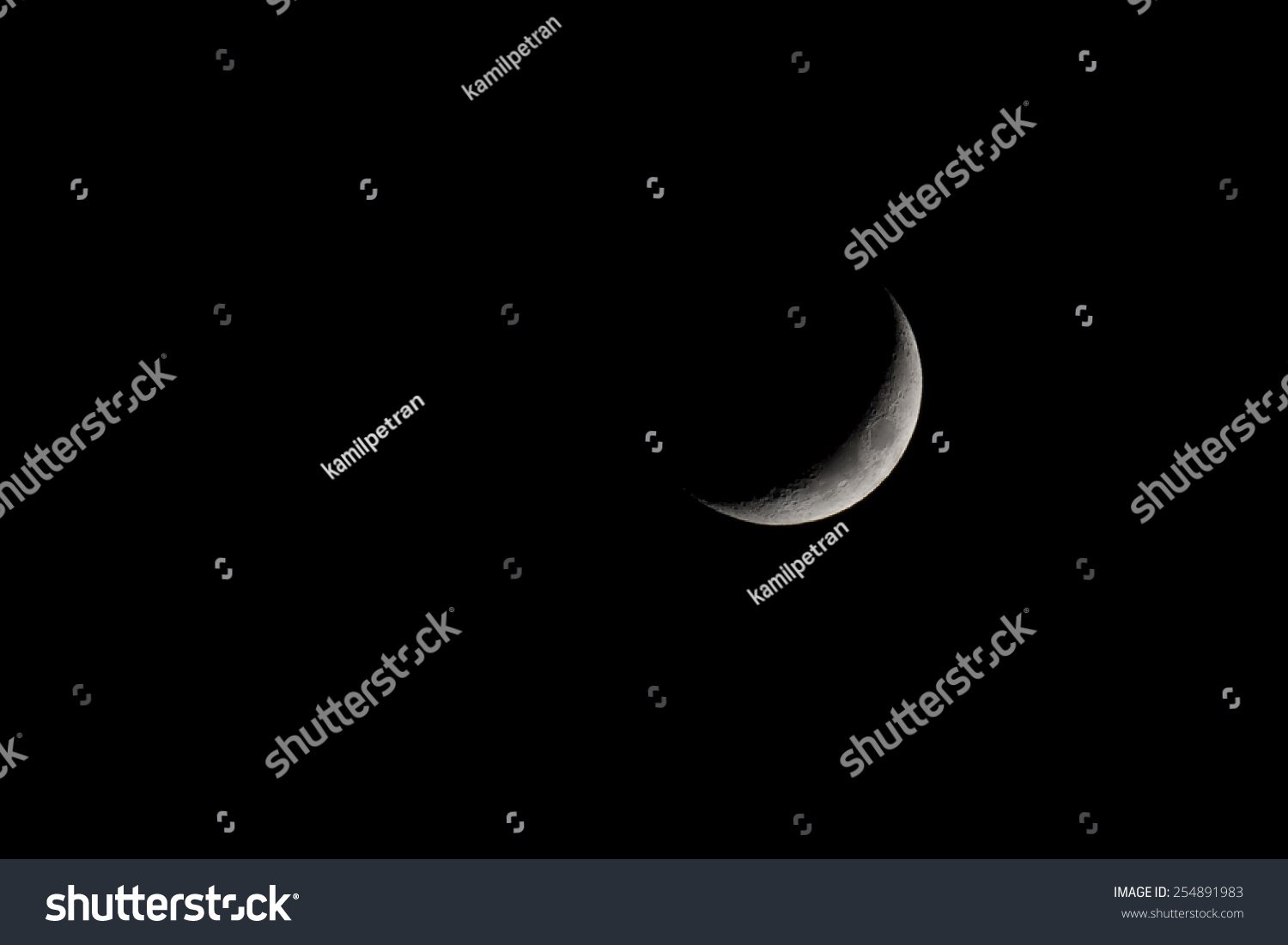 Waxing Crescent Moon Phase Isolated On Stock Photo Image Royalty