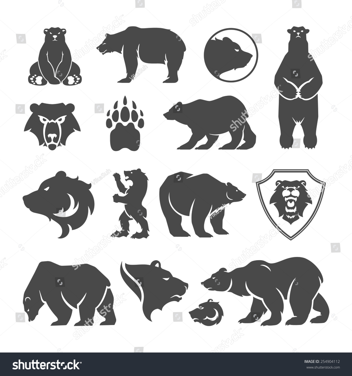 Vintage bear mascot, emblems, symbols, icons set. Can be used for T ...