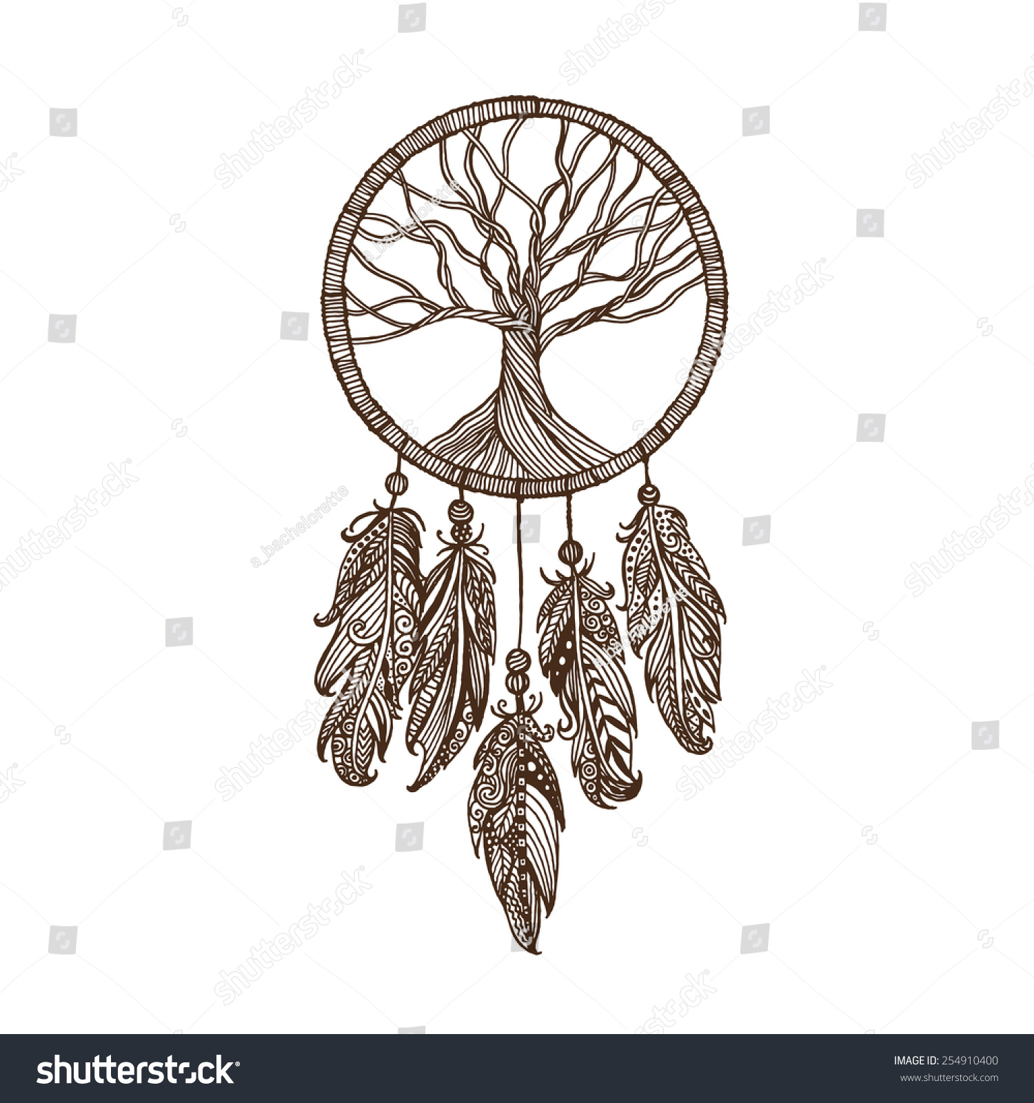 Hand Drawn Indian Dream Catcher Withe Stock Vector Royalty Free