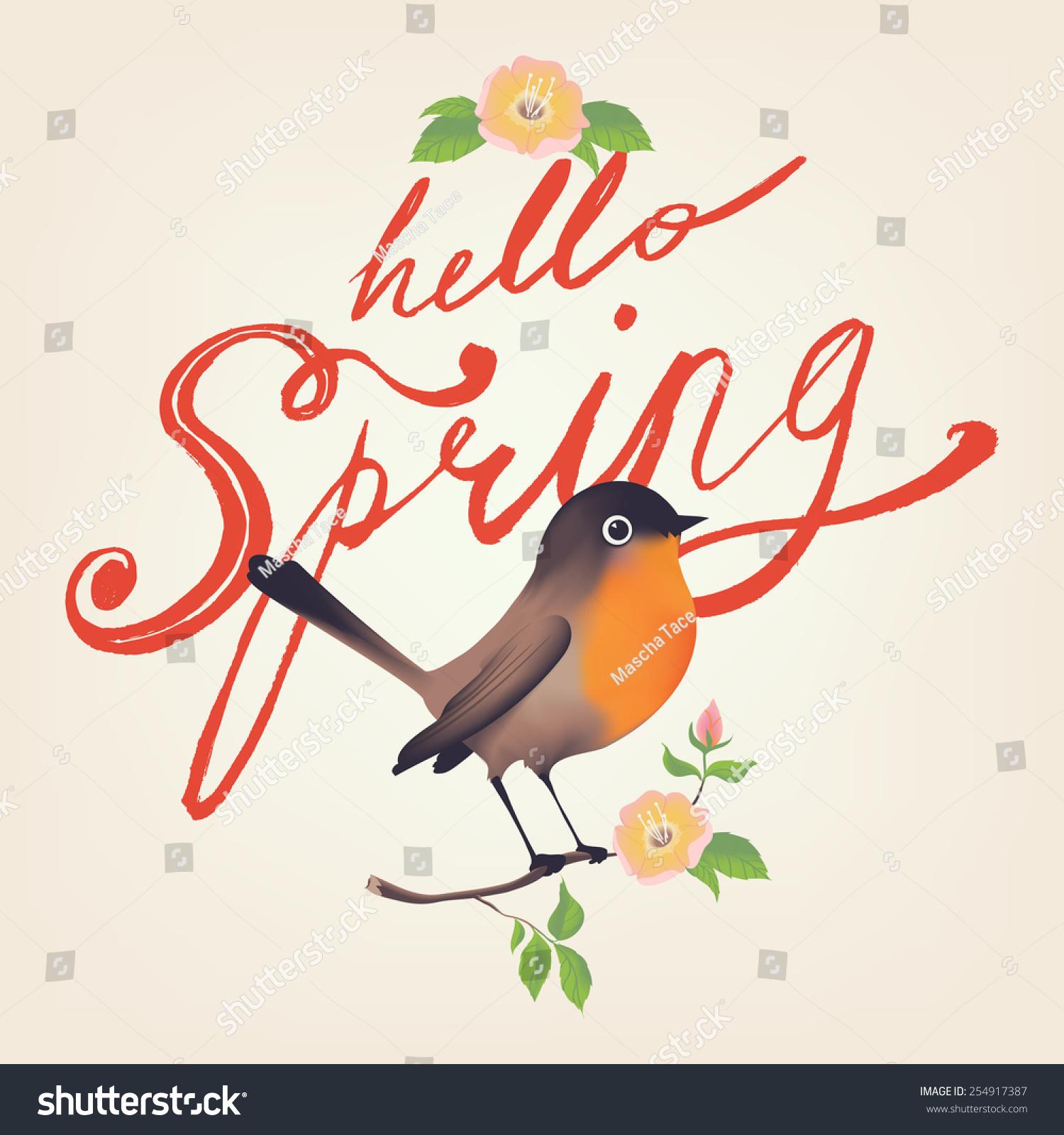 矢量春天你好交互排名刷脚本字体设计与小鸟坐培训学校设计ui手绘复古图片