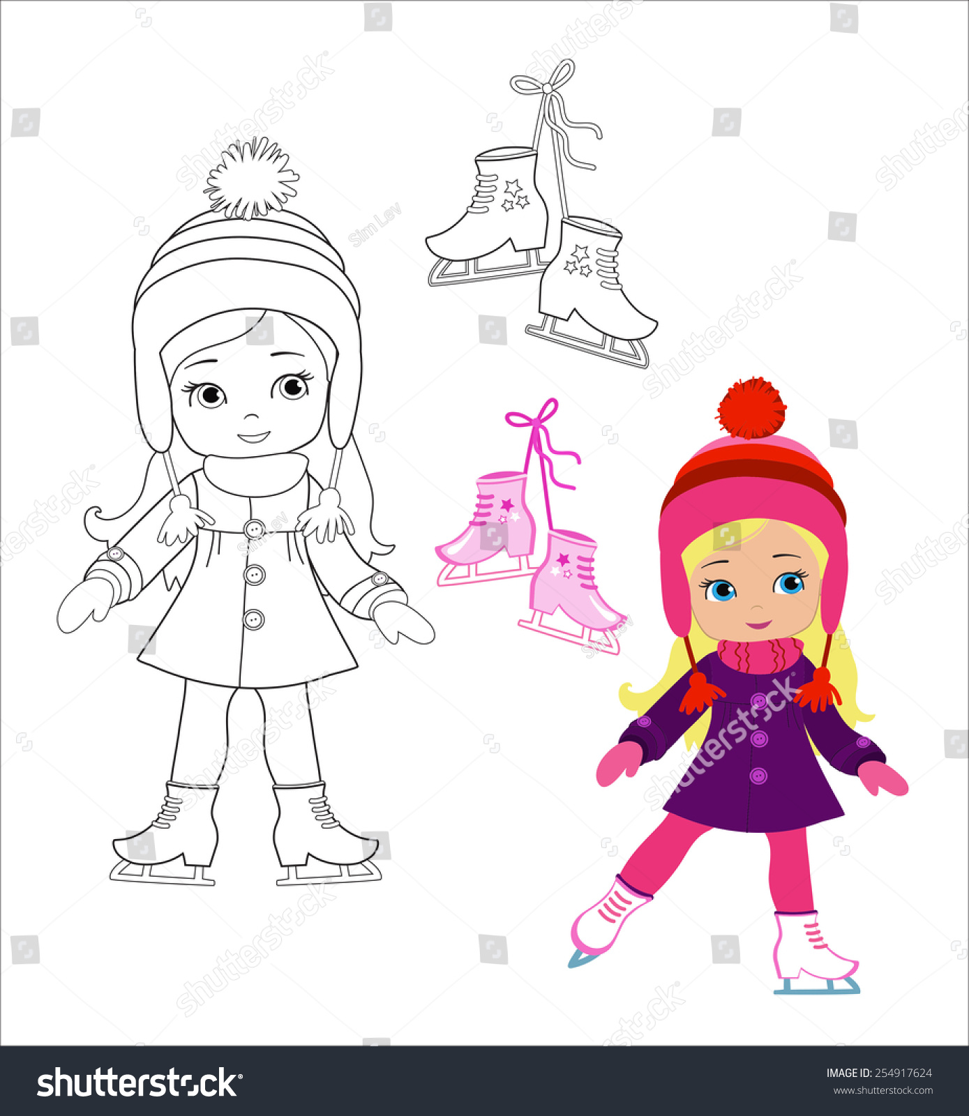 Funny Girl Winter Clothes On Skates Stock Vector (Royalty Free ...
