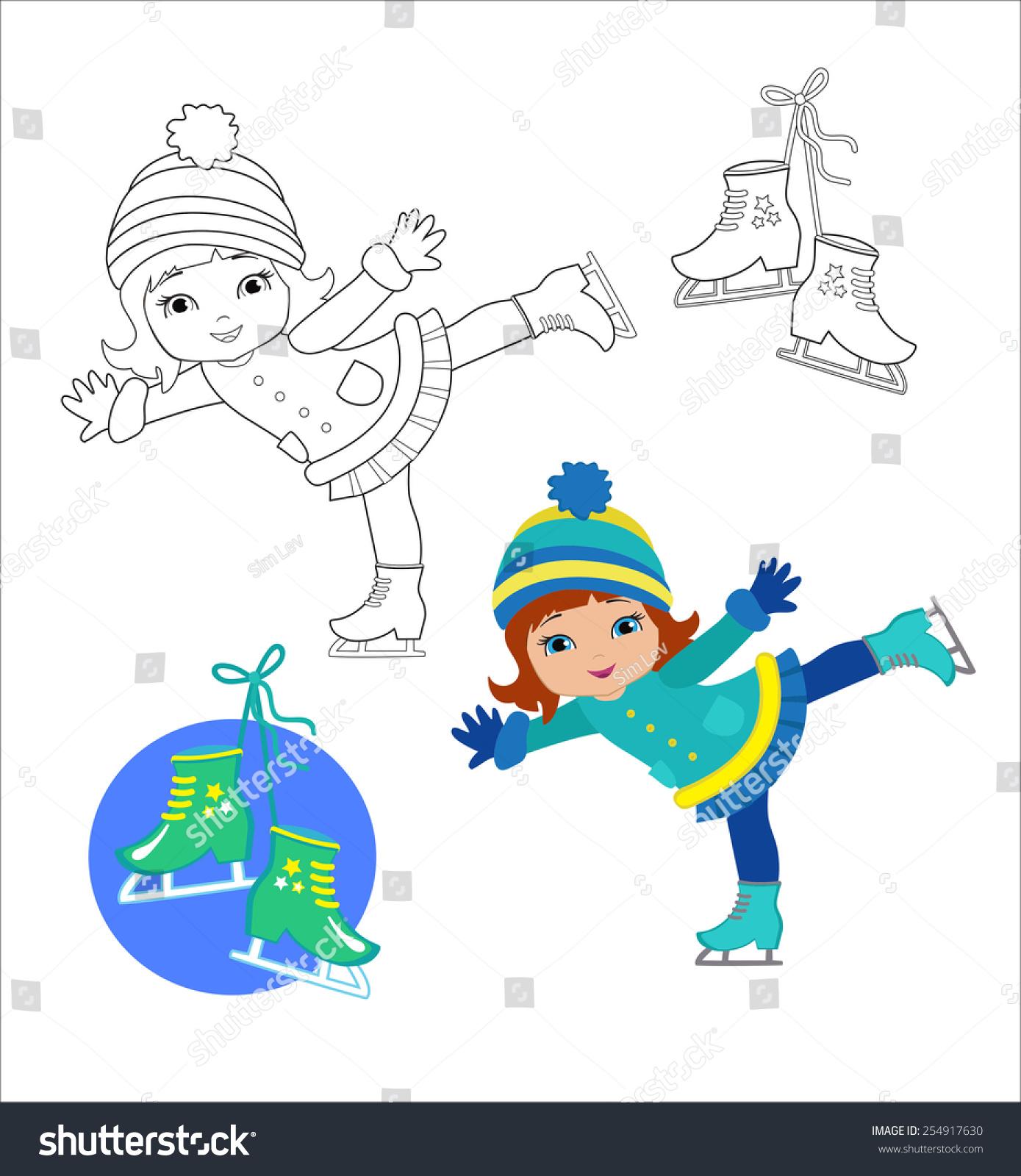 Funny Girl Winter Clothes On Skates Stock Vector 254917630 ...