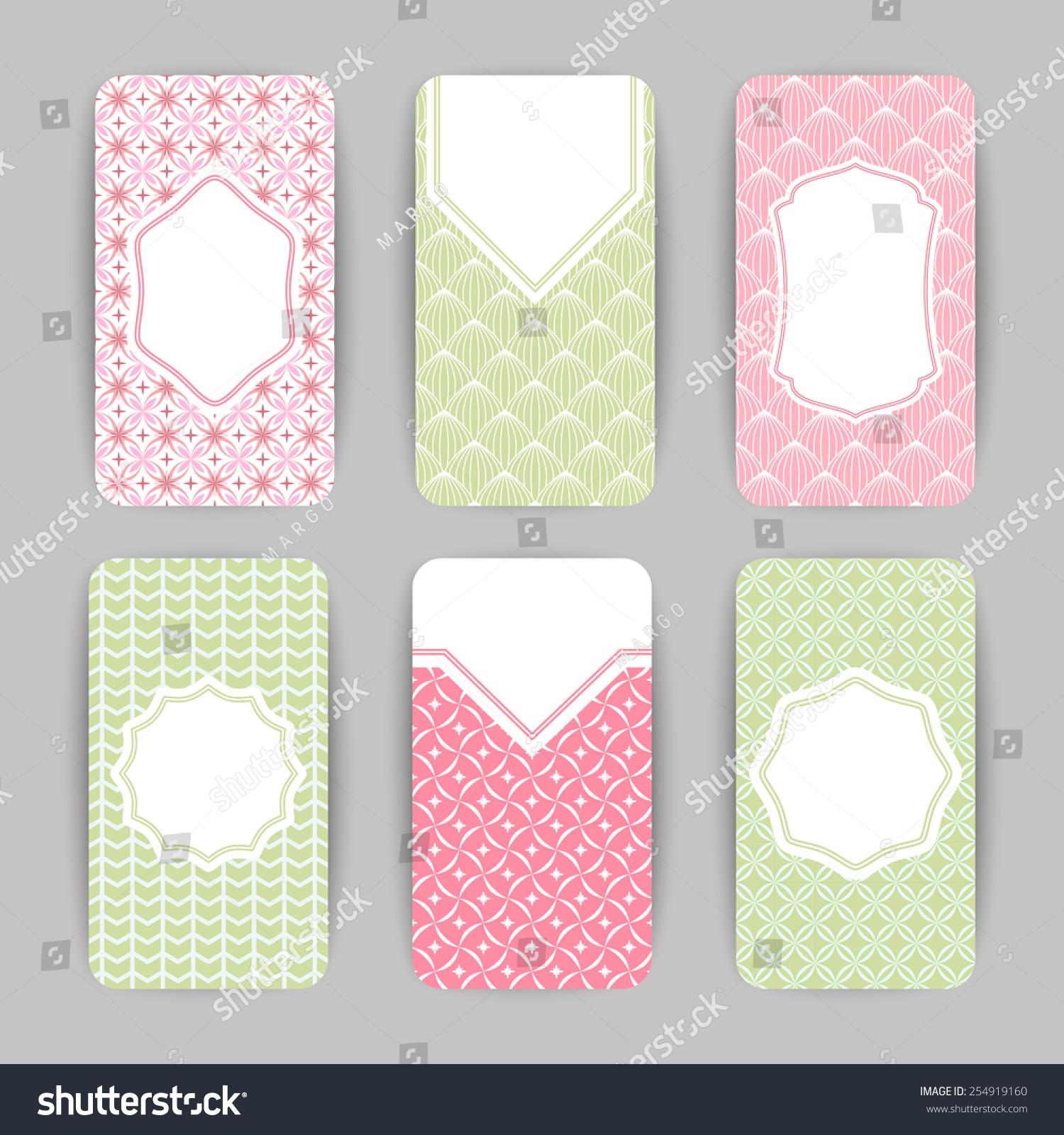 Collection Vector Card Templates Geometric Ornament Stock Vector