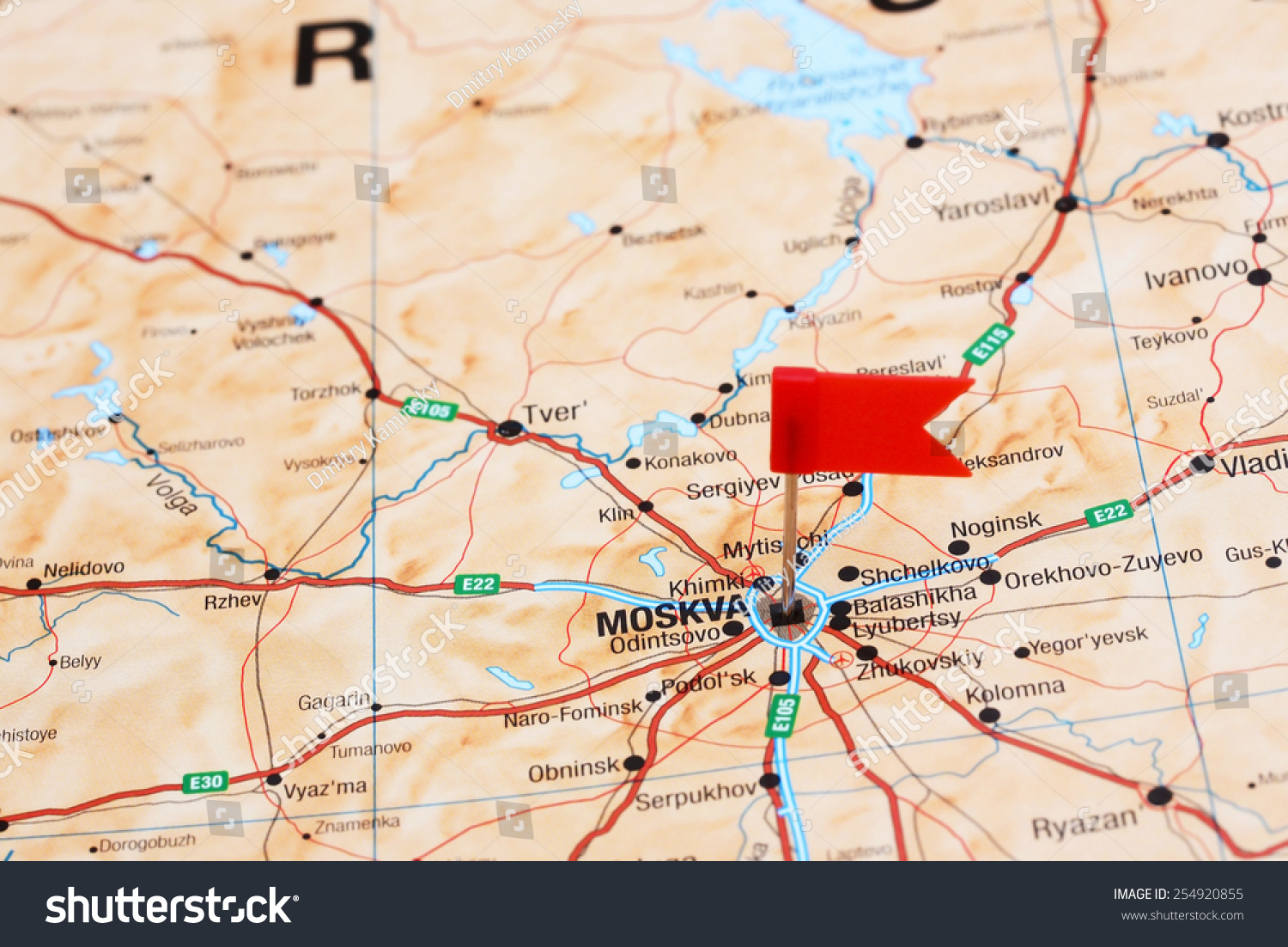 Moscow Pinned On Map Europe Stock Photo Edit Now 254920855