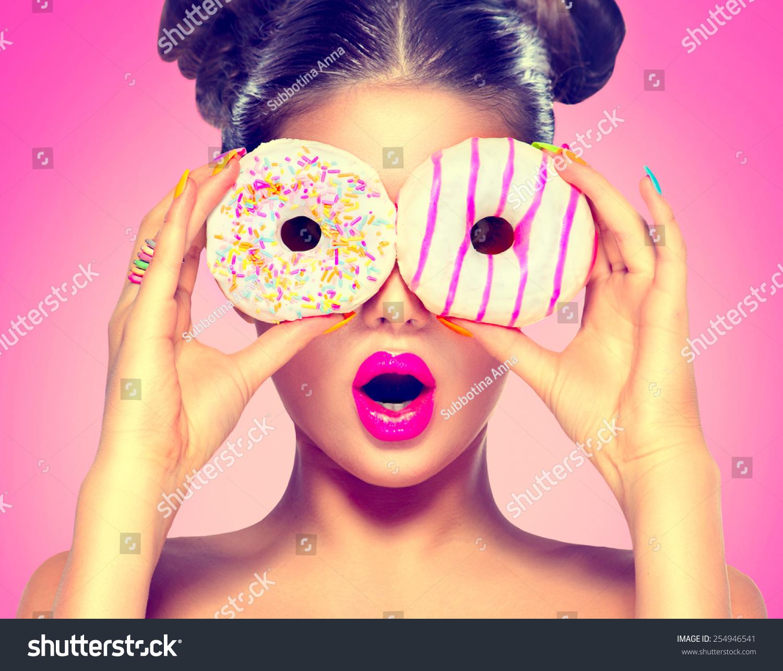 Beauty Fashion Food: Beauty Fashion Model Girl Taking Sweets Stock Photo