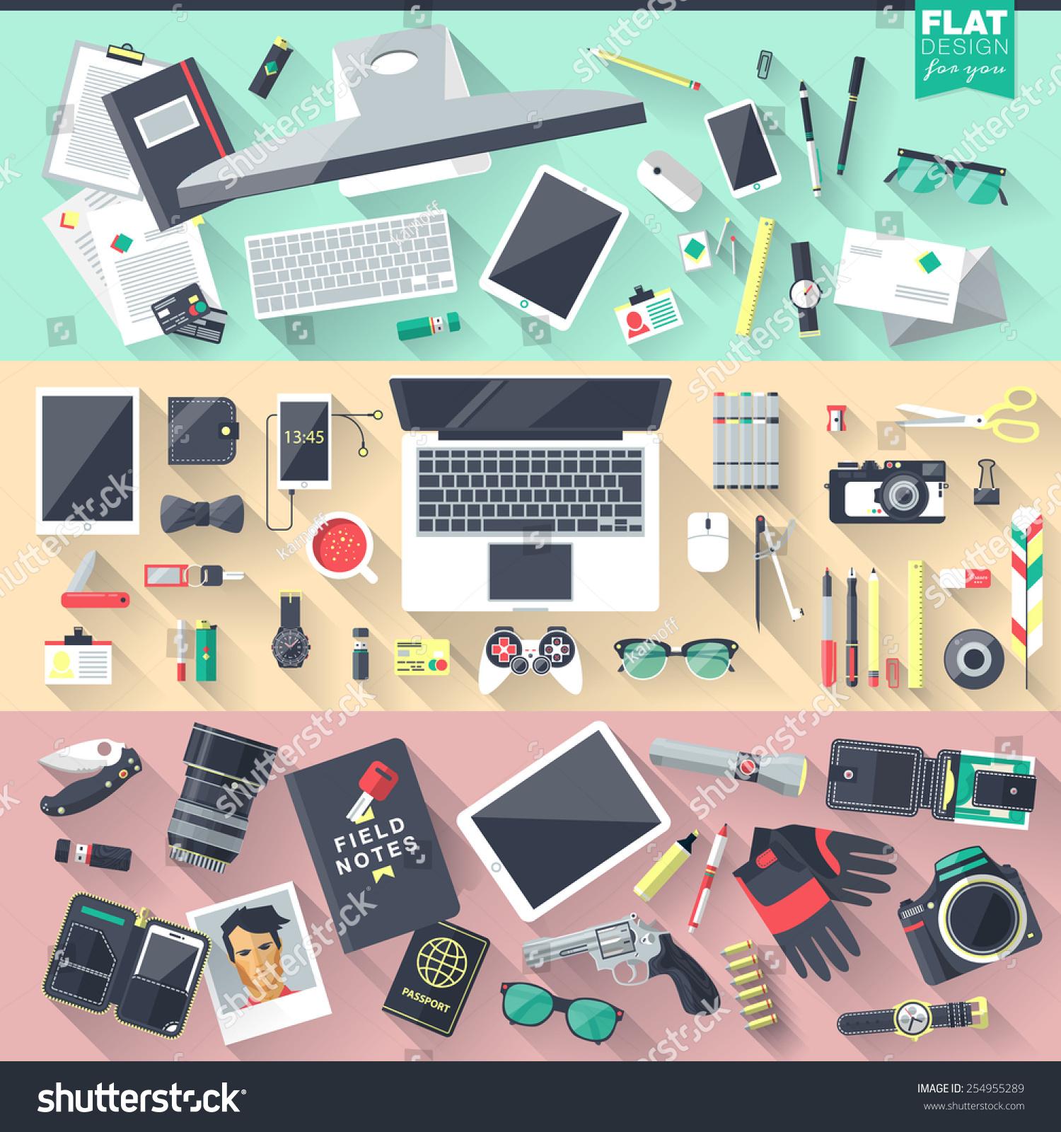 Flat design illustration workspace workplace concepts for Digital marketing materials