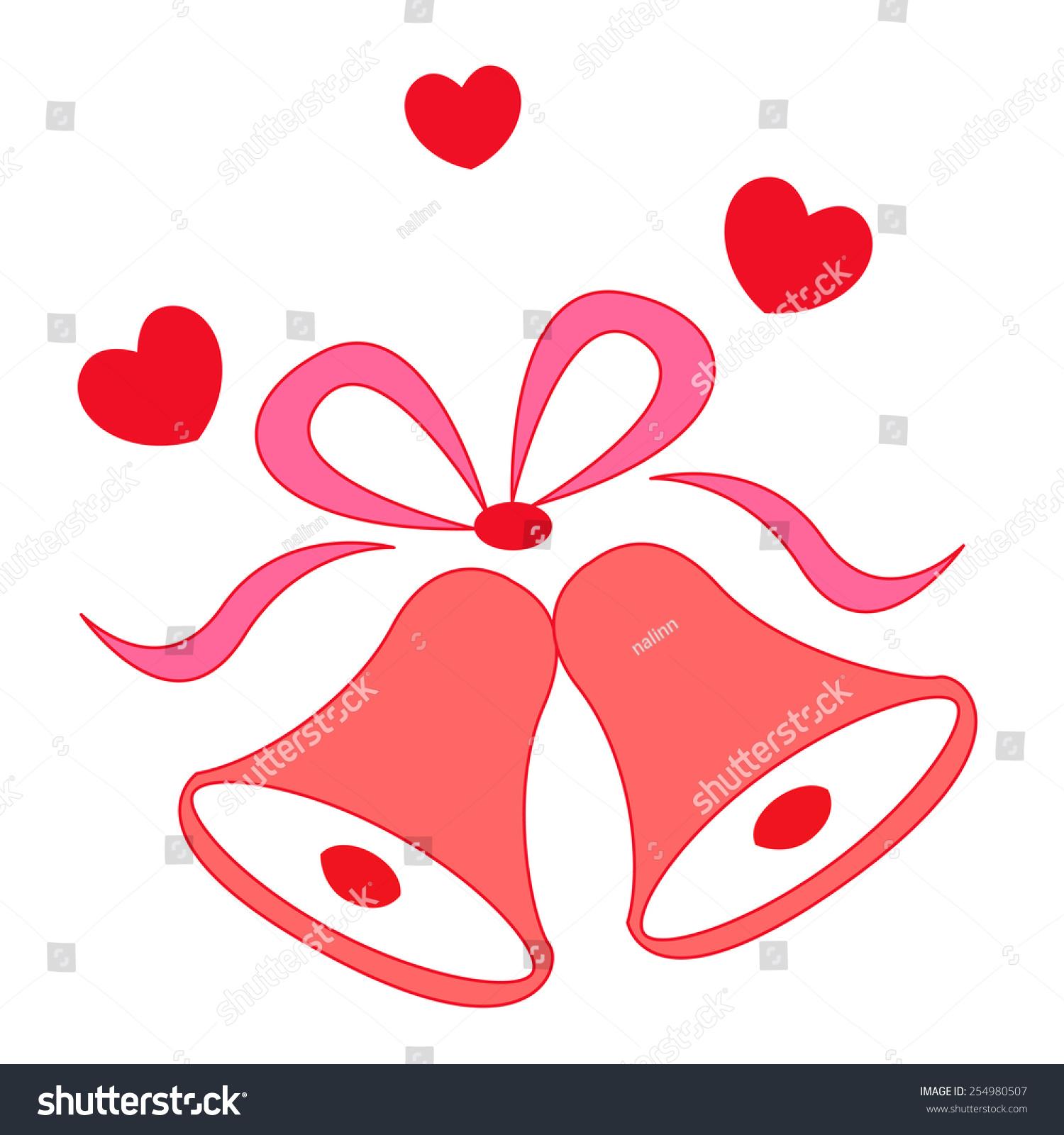 Illustration Elegant Red Color Wedding Bells Stock Vector