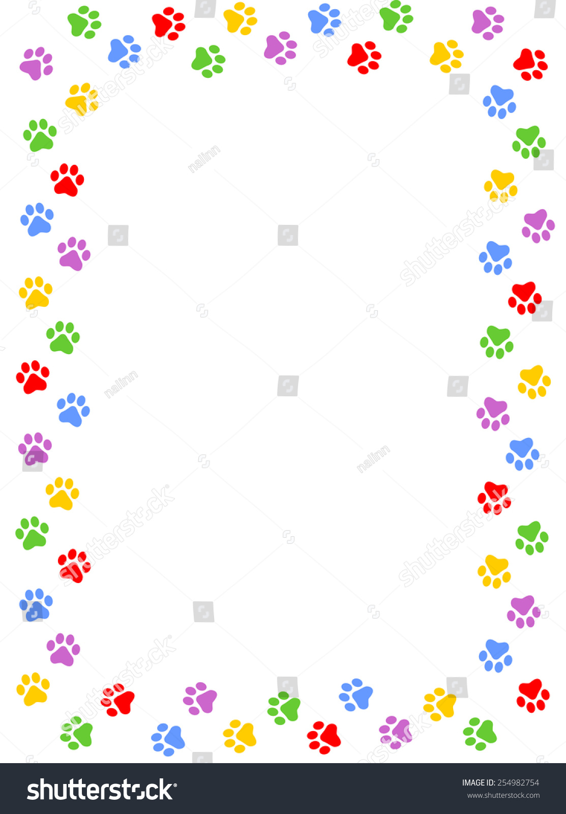 Colorful Dog Paw Print Frame Border Stock Vector 254982754 ...