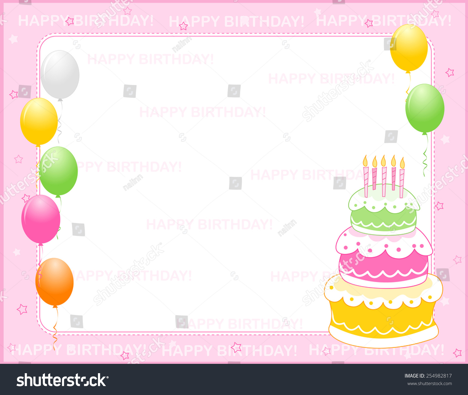 Colorful Girly Birthday Card Invitation Background Stock Vector