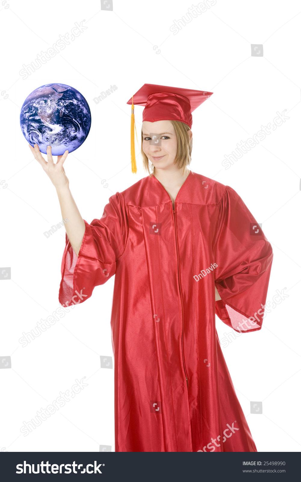 Beautiful Caucasian Teenager Weaing Red Graduation Stock Photo ...