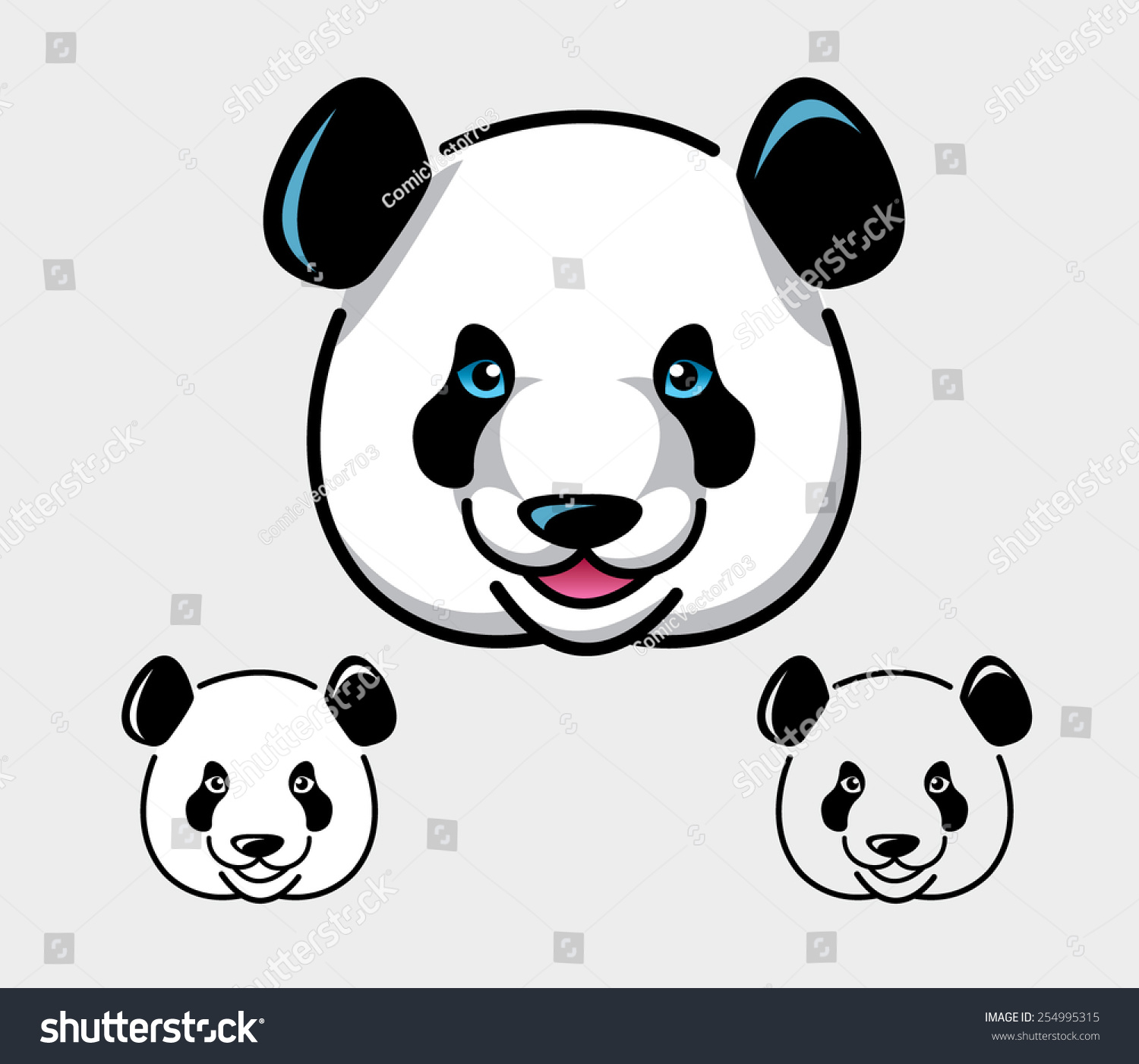 0860c454327 Panda face vector illustration. Good use for symbol, icon, mascot, or any  design you want. Easy to use, edit, or change color.