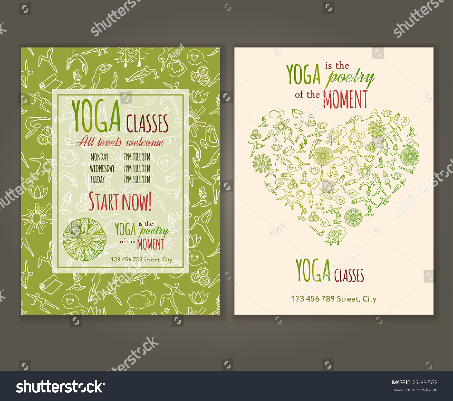 flyers template yoga class yoga quote stock vector 254996572 flyers template for yoga class yoga quote yoga vector seamless pattern is under clipping