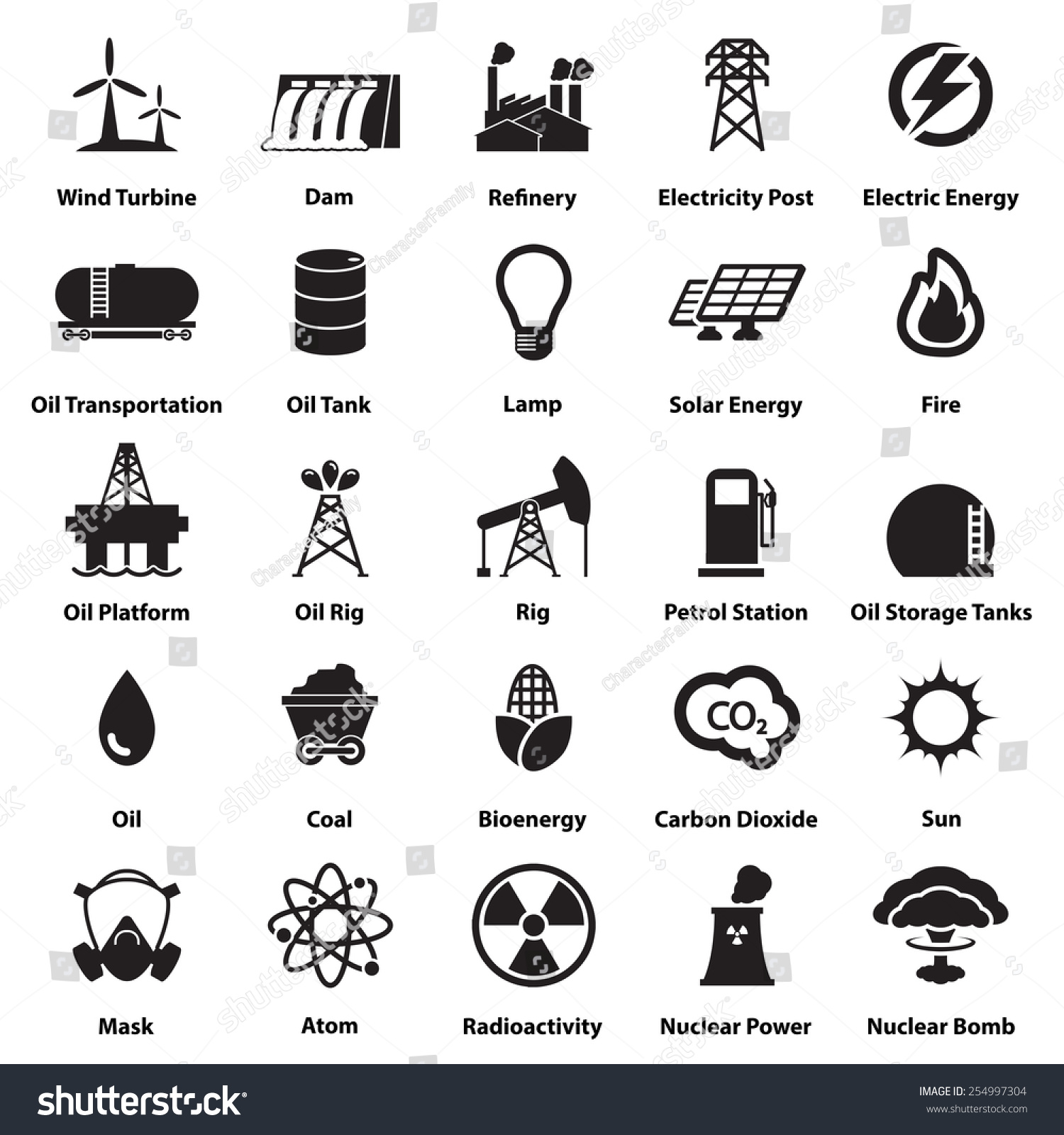Energy Electricity Power Icons Signs Symbols Stock Vector 254997304 ...
