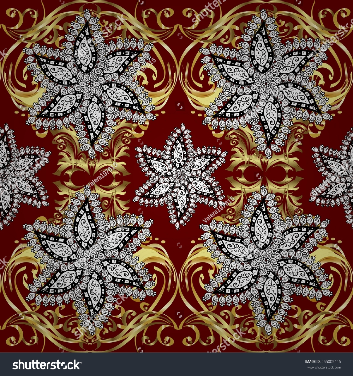 Seamless Pattern Red Background White Stock Vector
