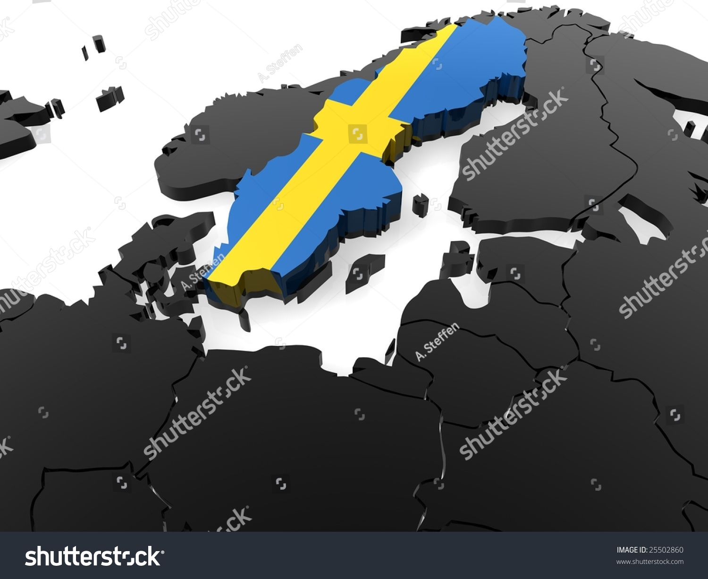Sweden D Map Stock Illustration Shutterstock - Sweden map 3d