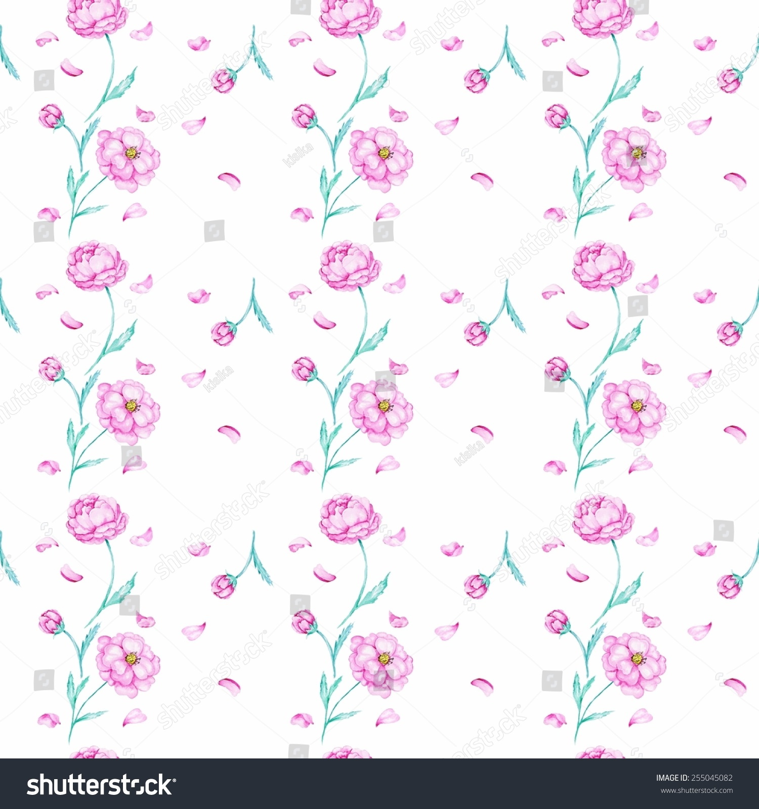 White Pattern Watercolor Peony Seamless Bedroom Stock Illustration