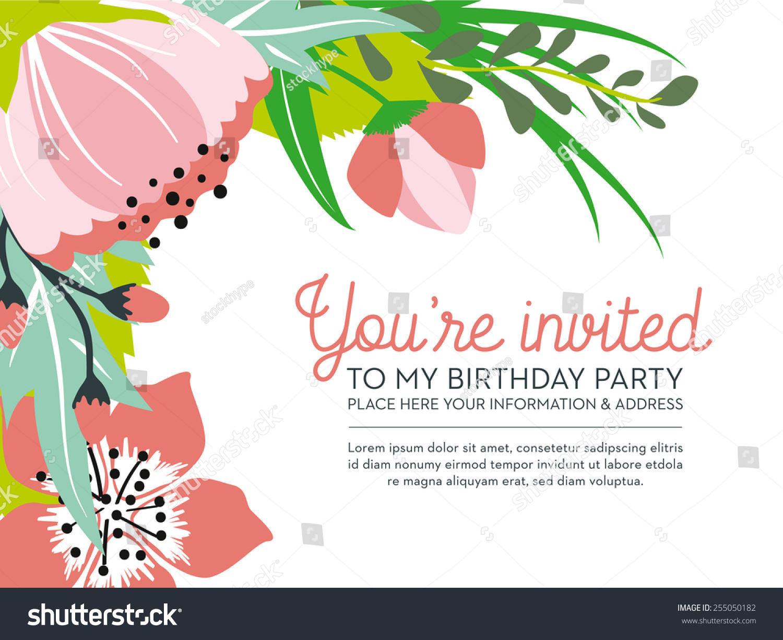 Birthday Invitation Card Floral Design You Stock Vector 255050182 ...