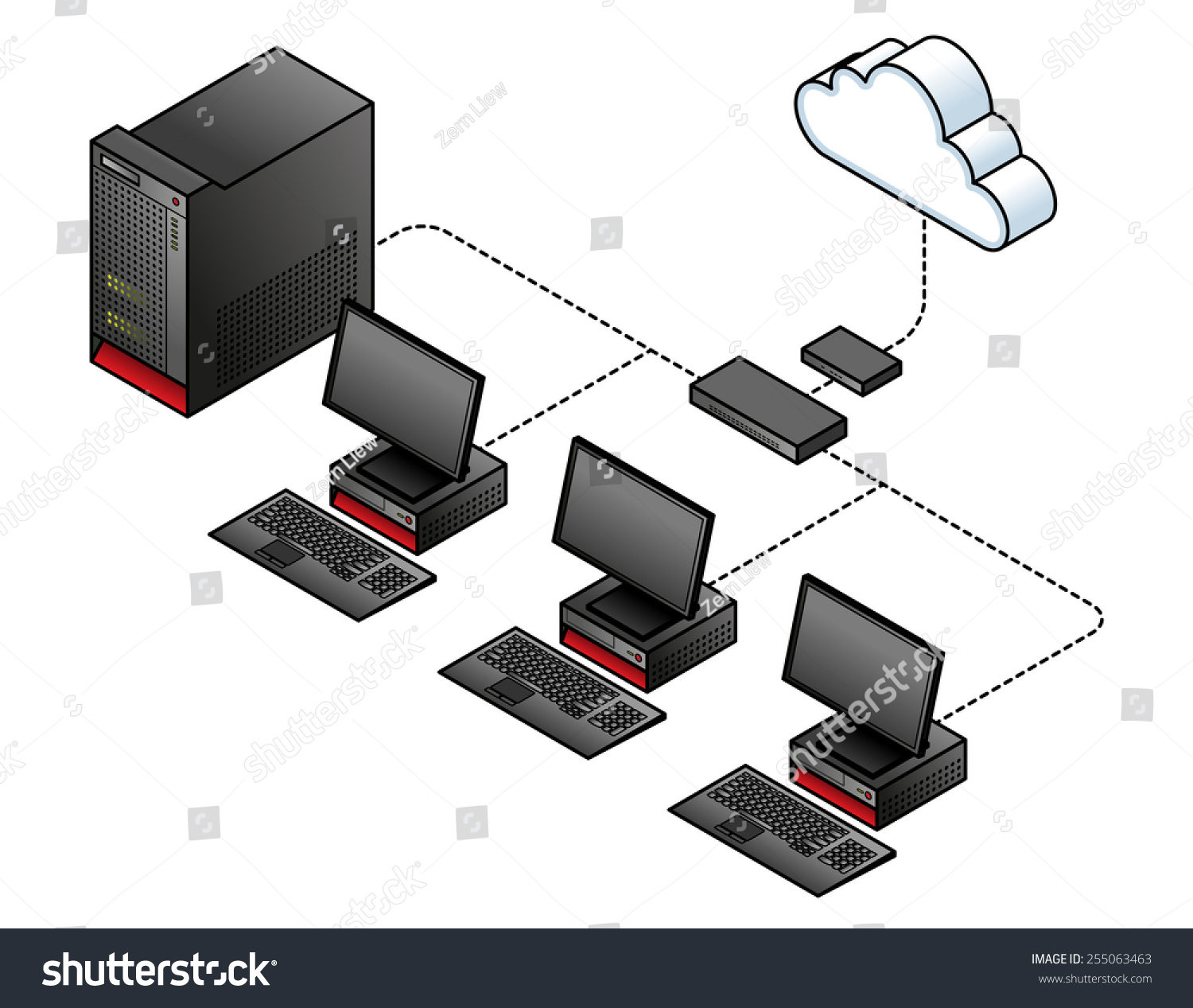 diagram simple wired network broadband modem stock vector diagram of a simple wired network a broadband modem gateway a network switch
