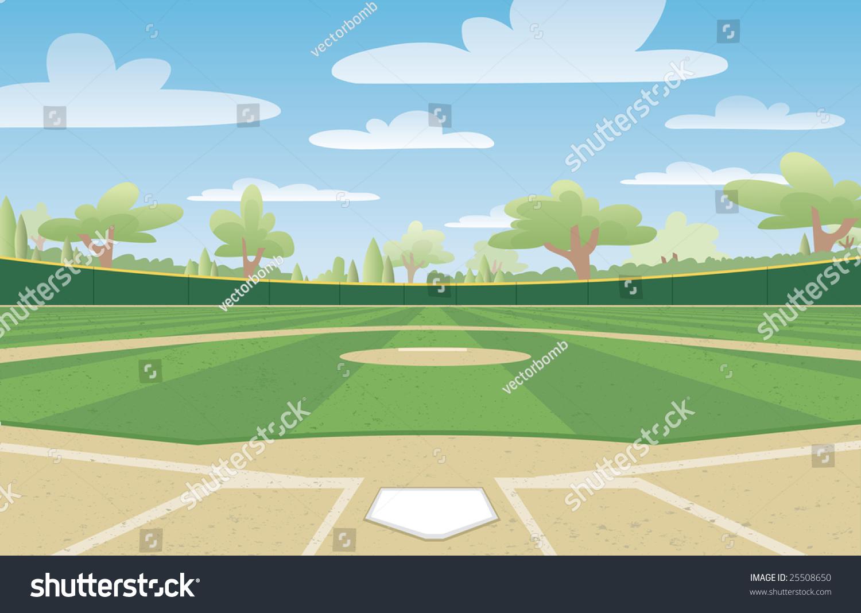 vector illustration nicely groomed baseball field stock