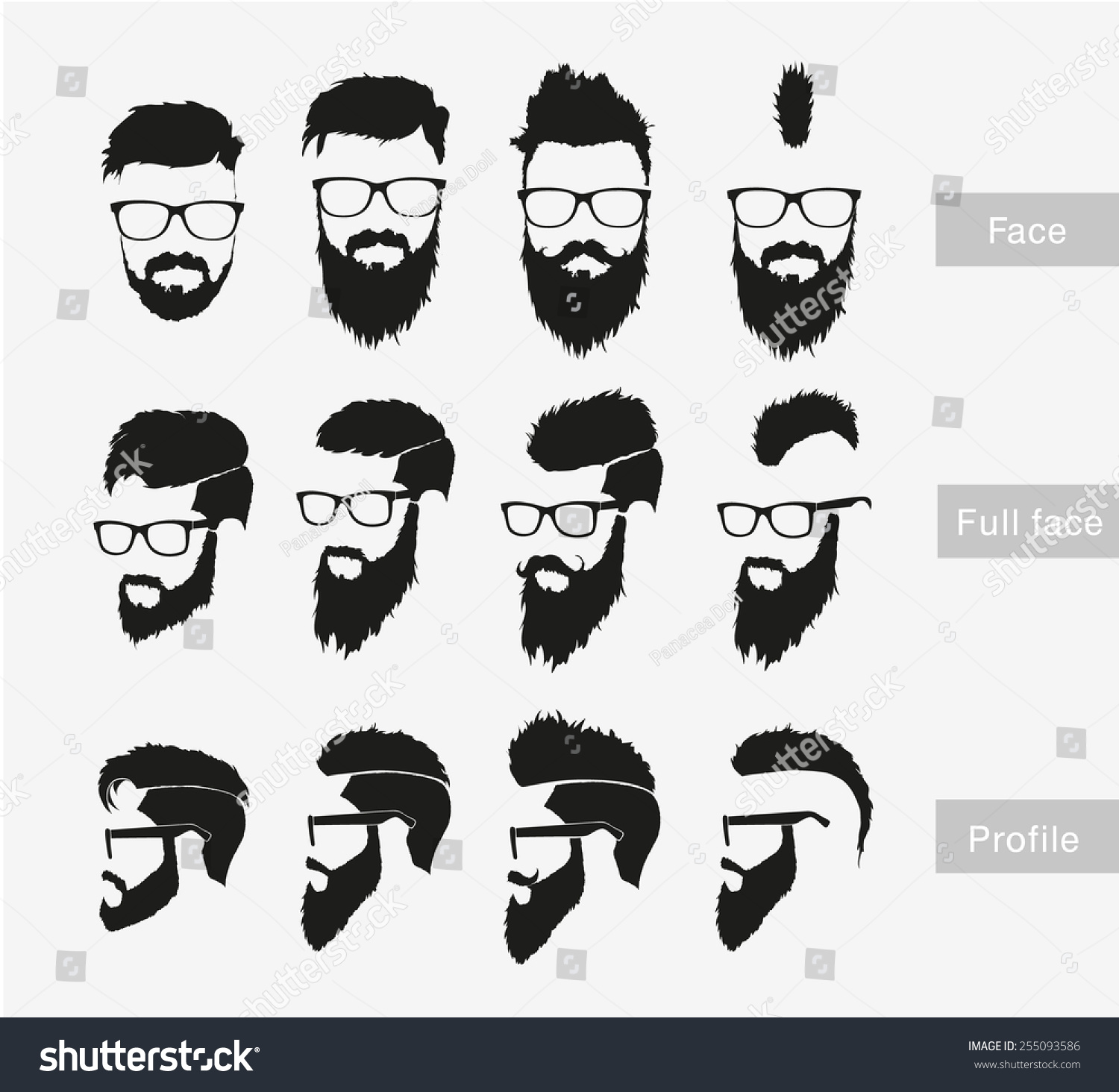 Hairstyles Beard Face Full Face Profile Stock Vector 255093586 Shutterstock