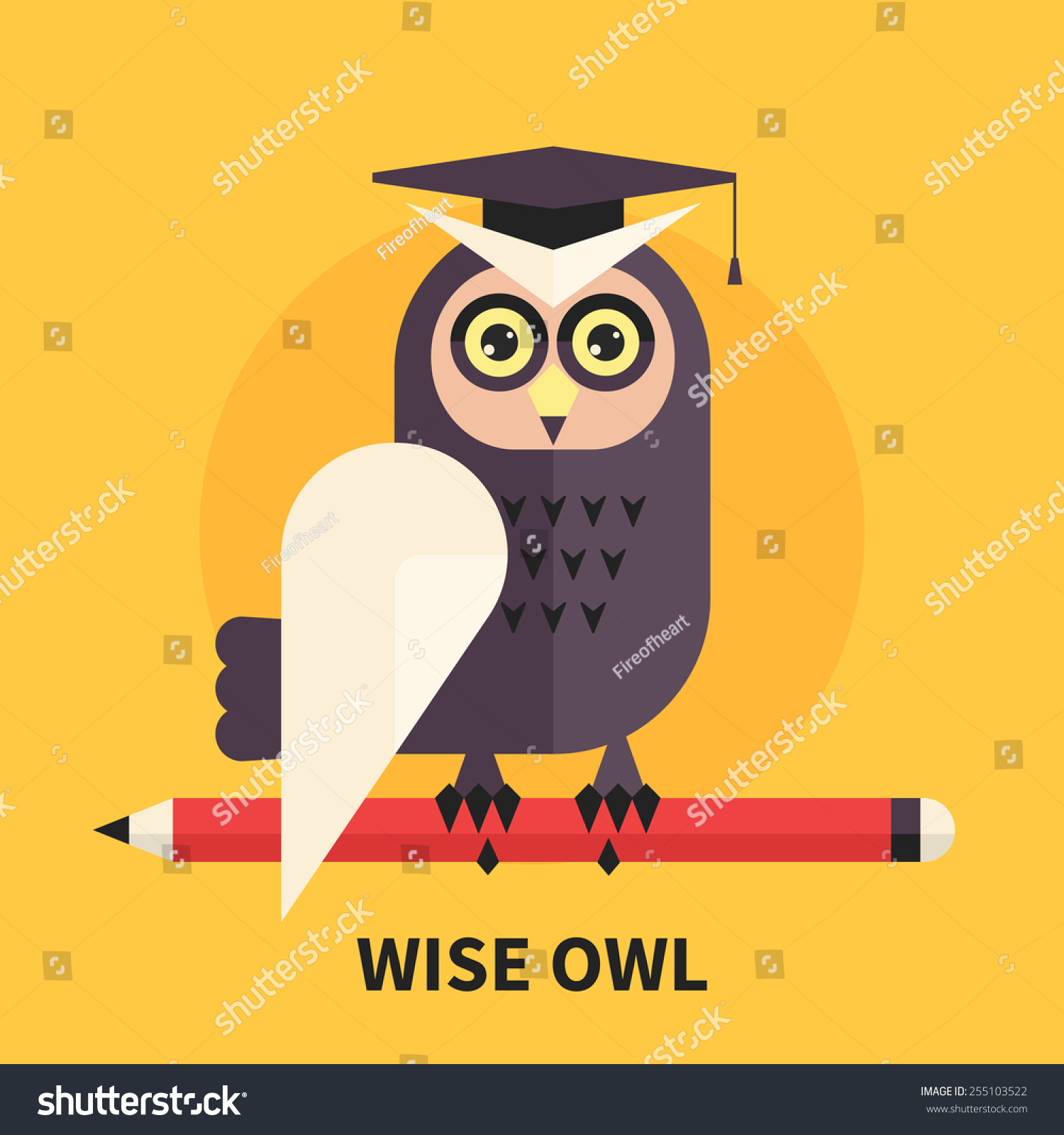 Wise Owl Symbol Wisdom Learning Knowledge Stock Vector Royalty Free
