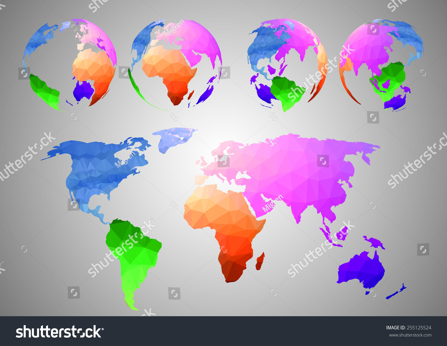 Low Poly World Map Vector Illustration Stock Vector Royalty Free