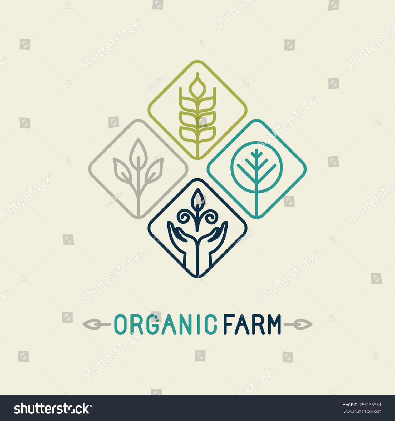 Line Logo Design : Vector agriculture organic farm line logo stock