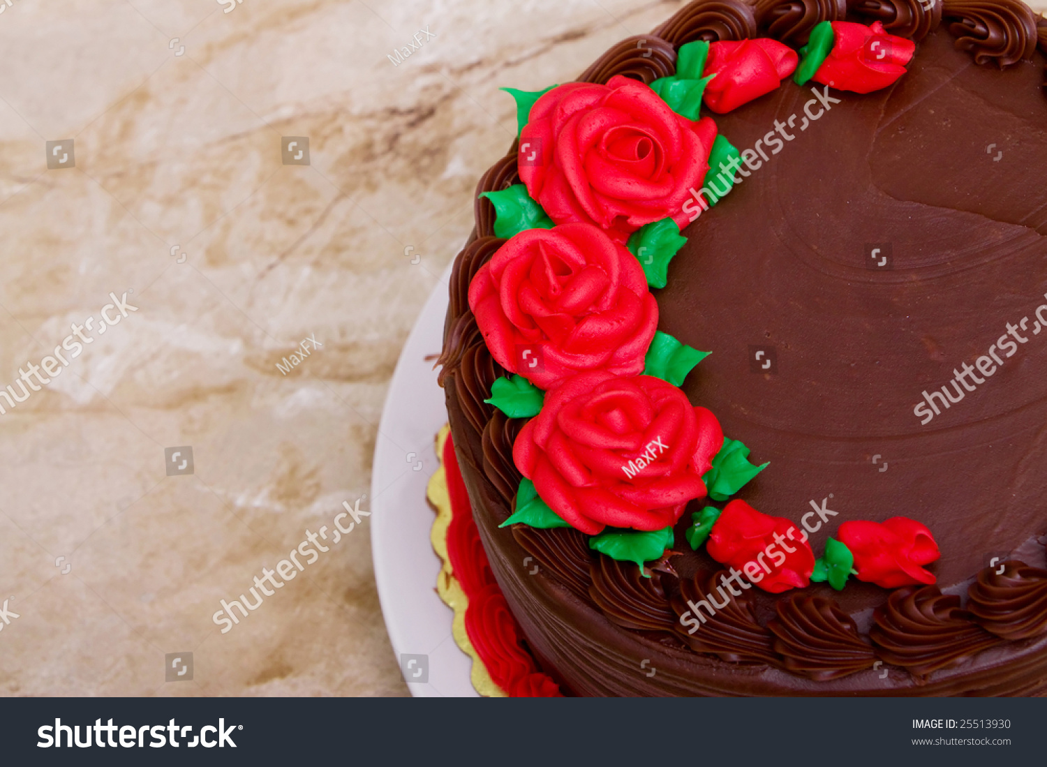 Delicious Chocolate Cake Decorated Rose Flowers Stock Photo Edit