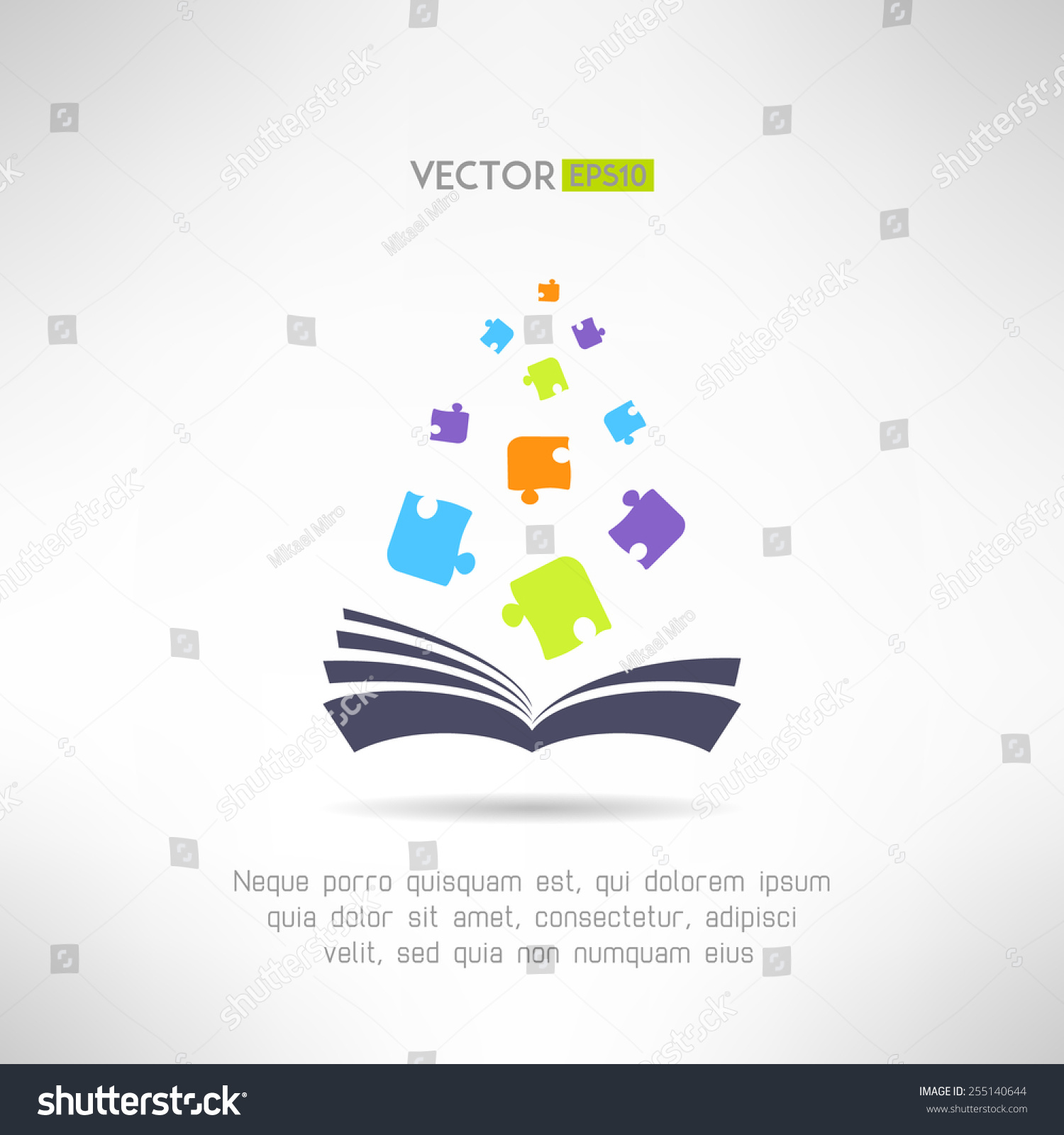Book icon puzzle pieces flying it stock vector 255140644 shutterstock book icon with puzzle pieces flying from it riddle and smart games library section sign buycottarizona Choice Image
