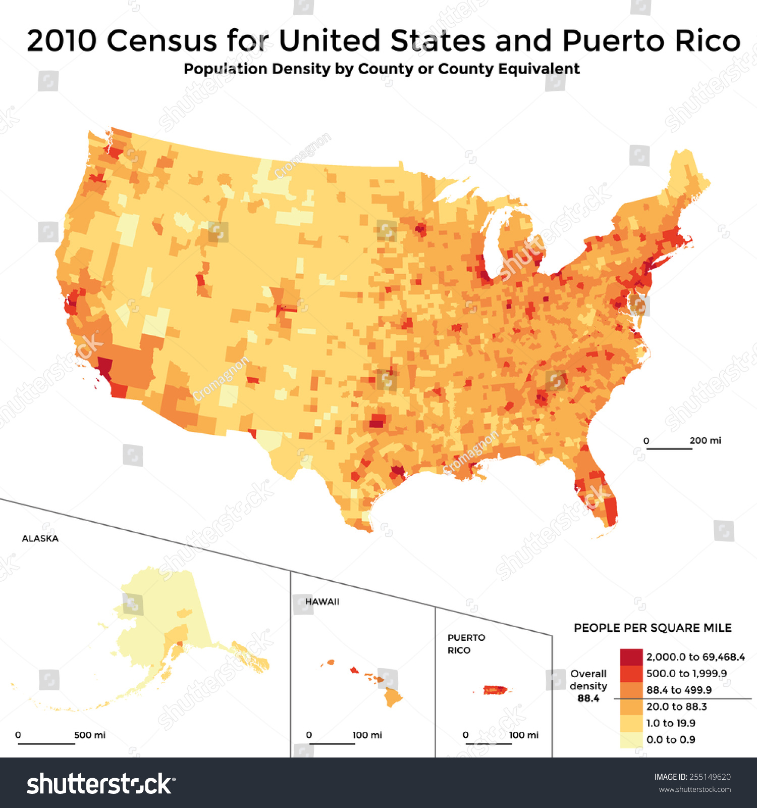 Census Map Population Density Usa Stock Vector - Us map with population density