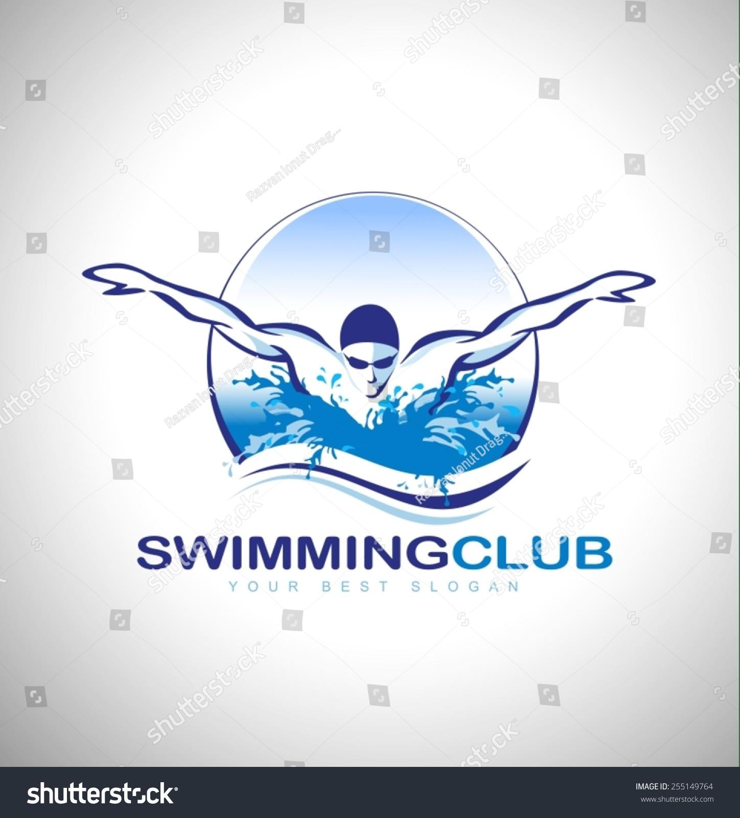 Swimming club logo design swimmer icon stock vector for Swimming designs