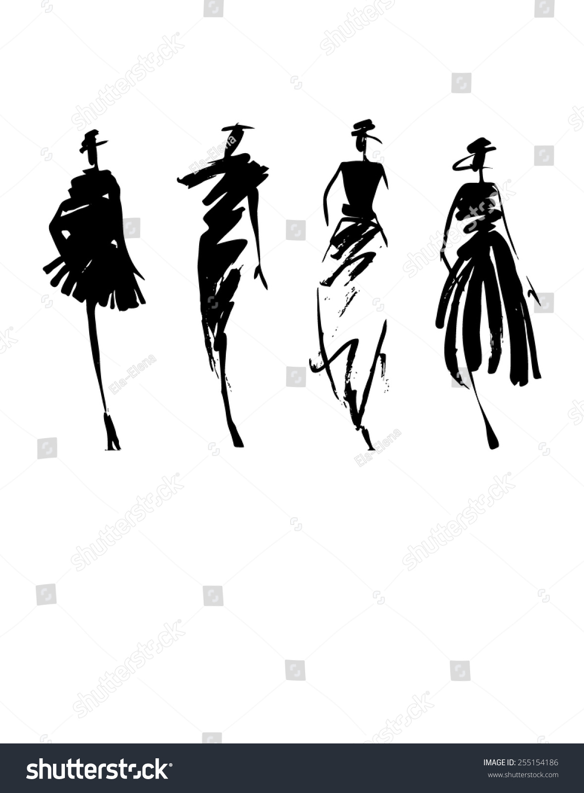Fashion Models Silhouette Hand Drawn Stock Vector