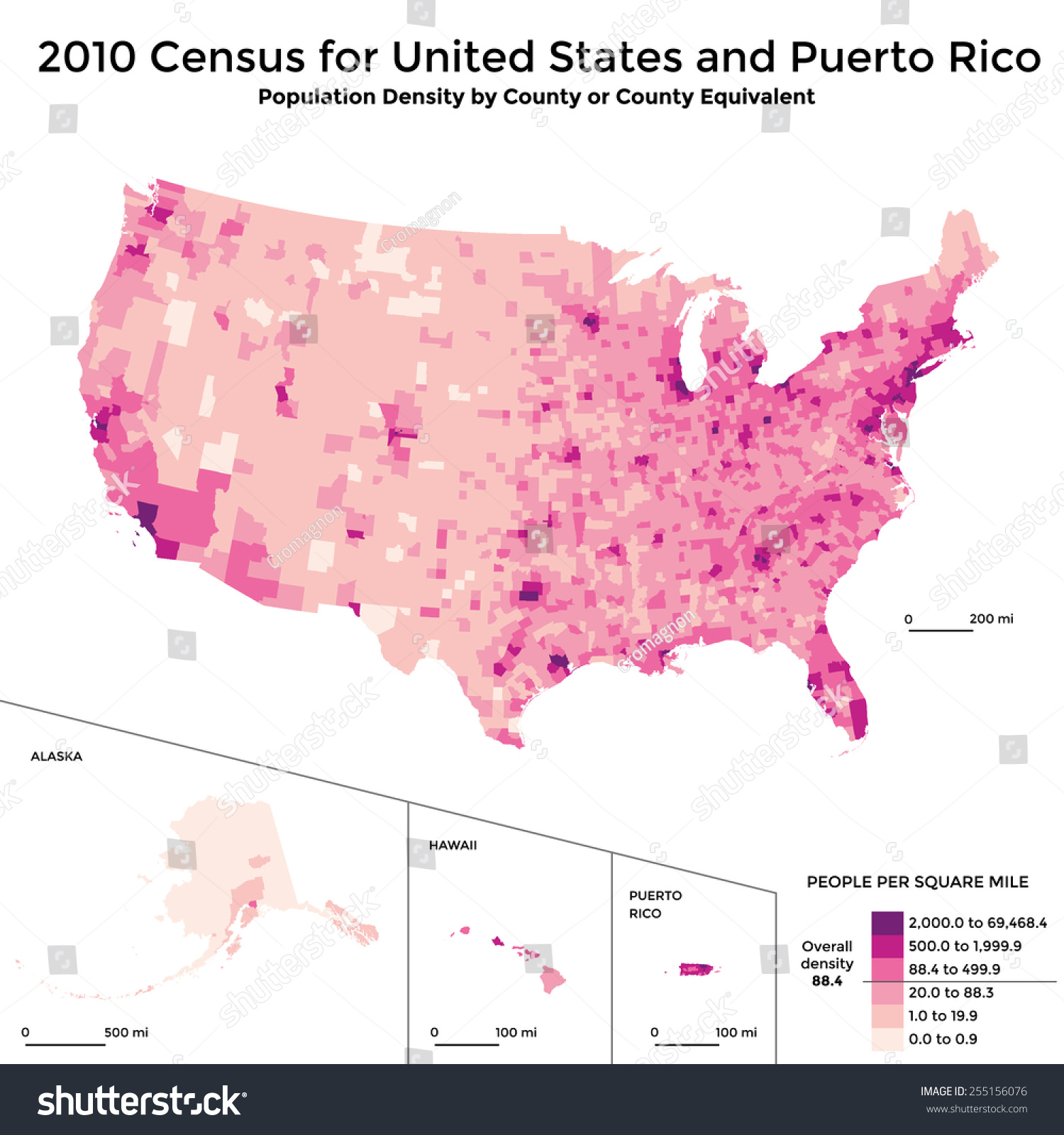 Census Map Population Density Usa Stock Vector - Us map population density