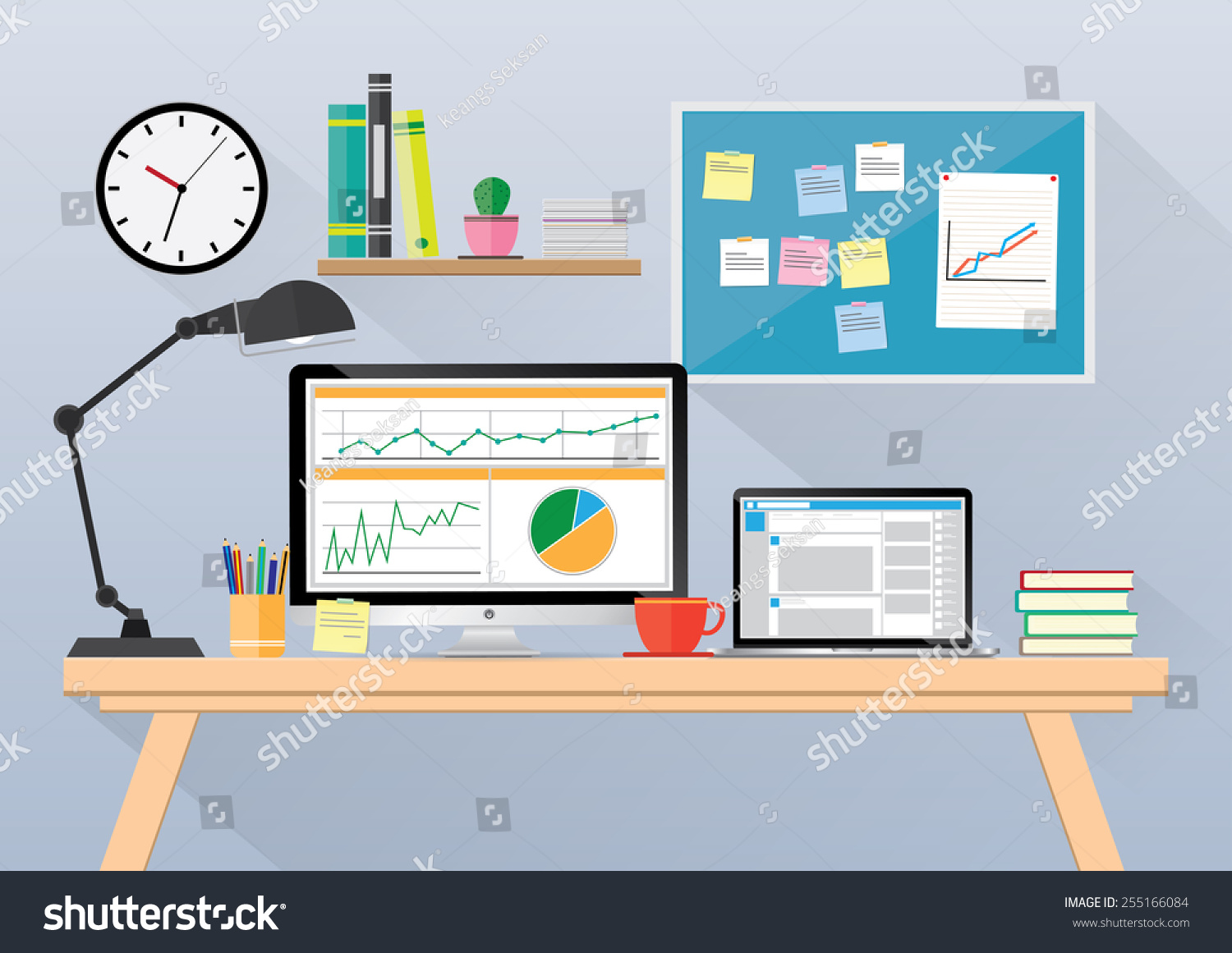Computer Desk Workplace Cartoon Business Concept Stock