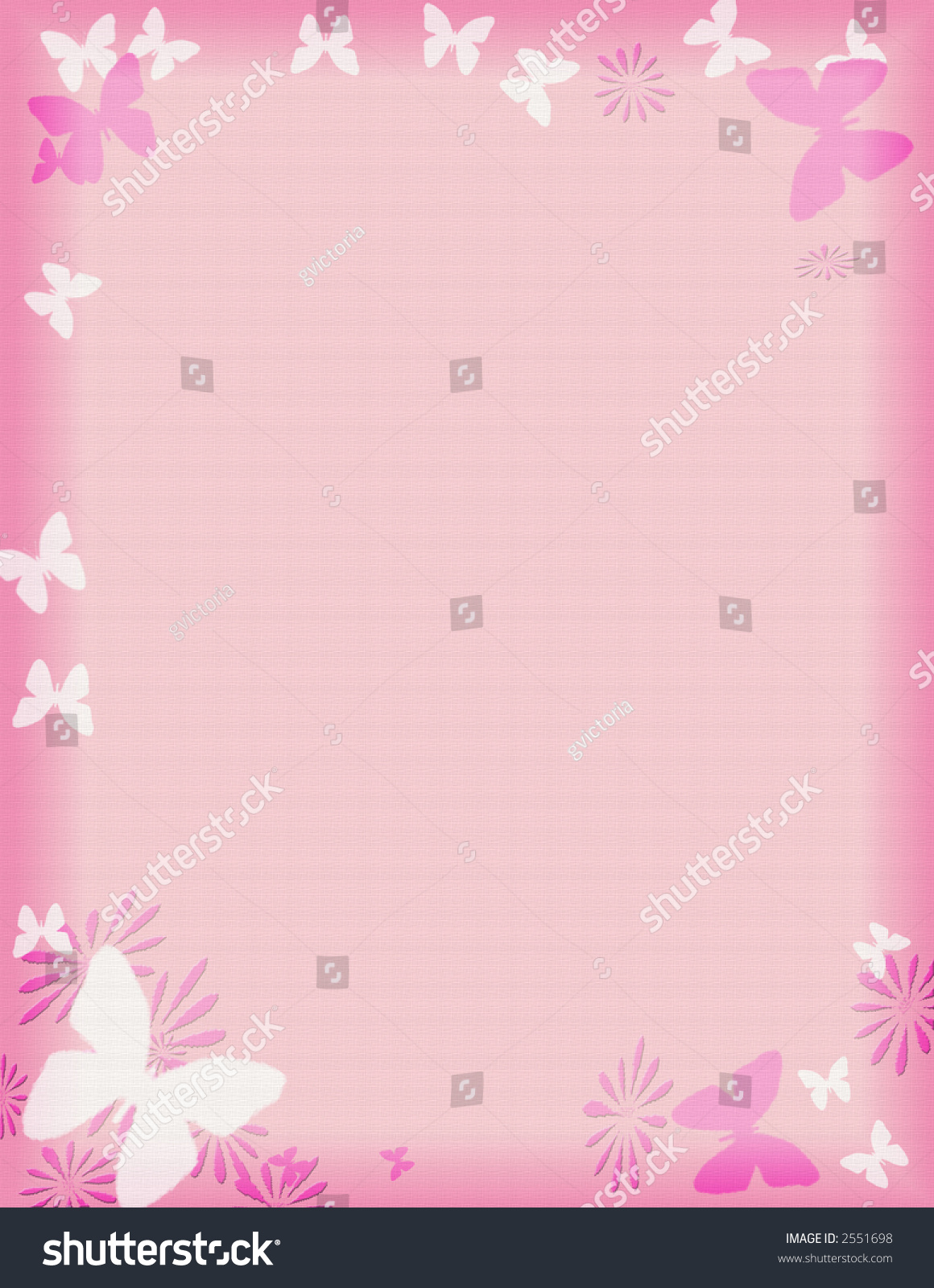 pink butterfly border frame appropriate stationary stock